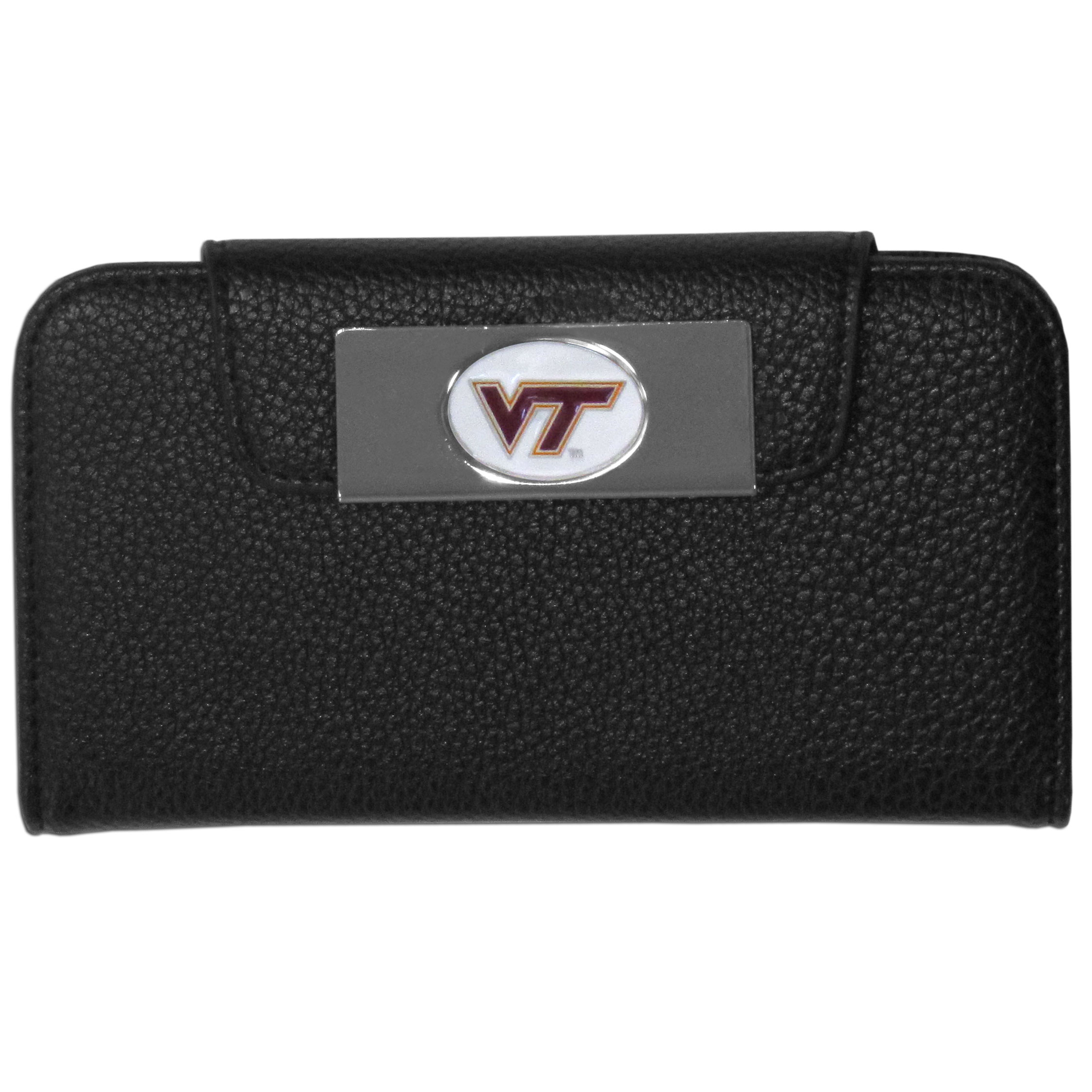 Virginia Tech Hokies Samsung Galaxy S4 Wallet Case - This new & wildly popular case is ideal for those who like to travel light! The stylish case has an inner hard shell that securely holds your phone while allowing complete access to the phone's functionality. The flip cover has slots for credit cards, business cards and identification. The magnetic flip cover has a metal Virginia Tech Hokies emblem on a high polish chrome backing. Fits the Samsung Galaxy S4