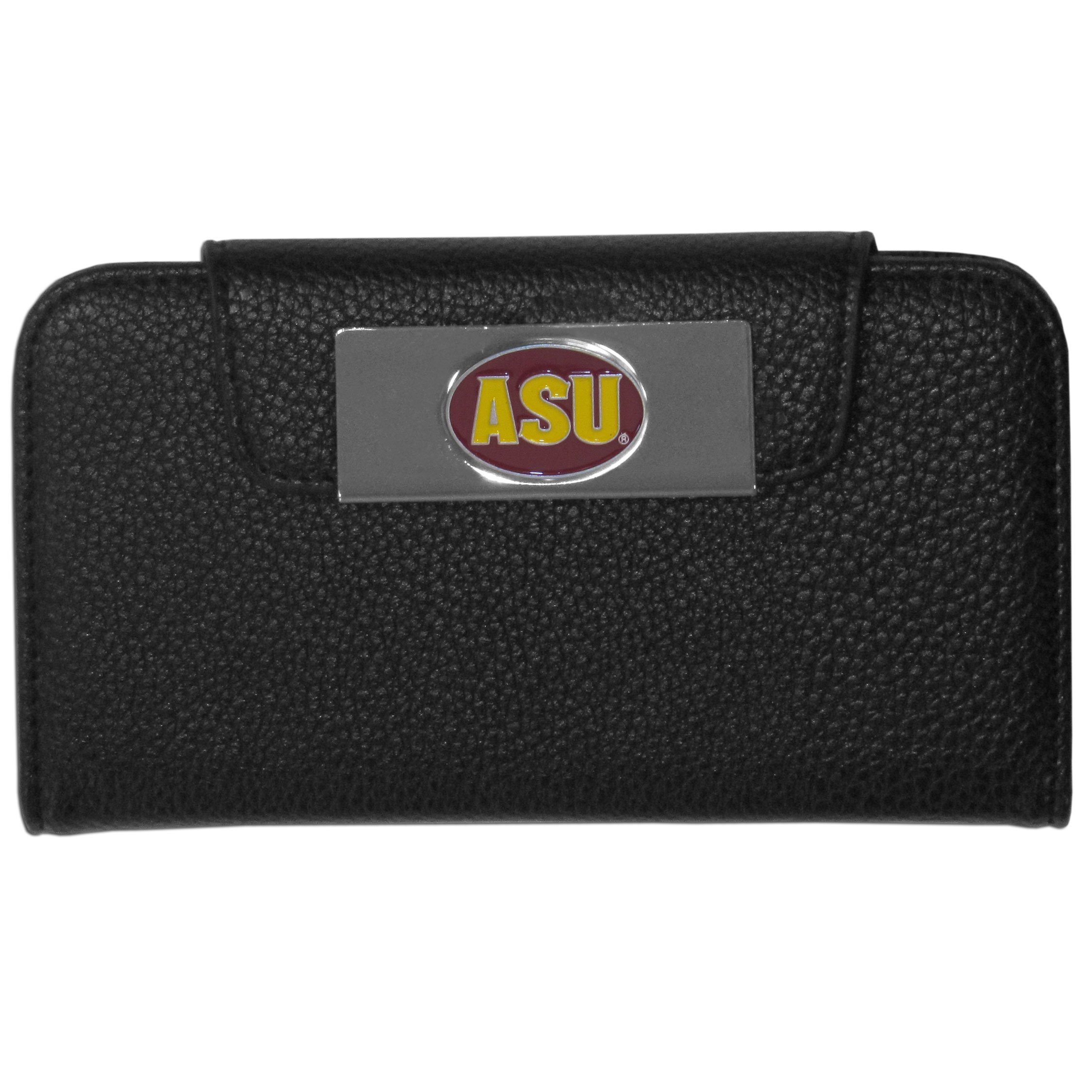 Arizona St. Sun Devils Samsung Galaxy S4 Wallet Case - This new & wildly popular case is ideal for those who like to travel light! The stylish case has an inner hard shell that securely holds your phone while allowing complete access to the phone's functionality. The flip cover has slots for credit cards, business cards and identification. The magnetic flip cover has a metal Arizona St. Sun Devils emblem on a high polish chrome backing. Fits the Samsung Galaxy S4