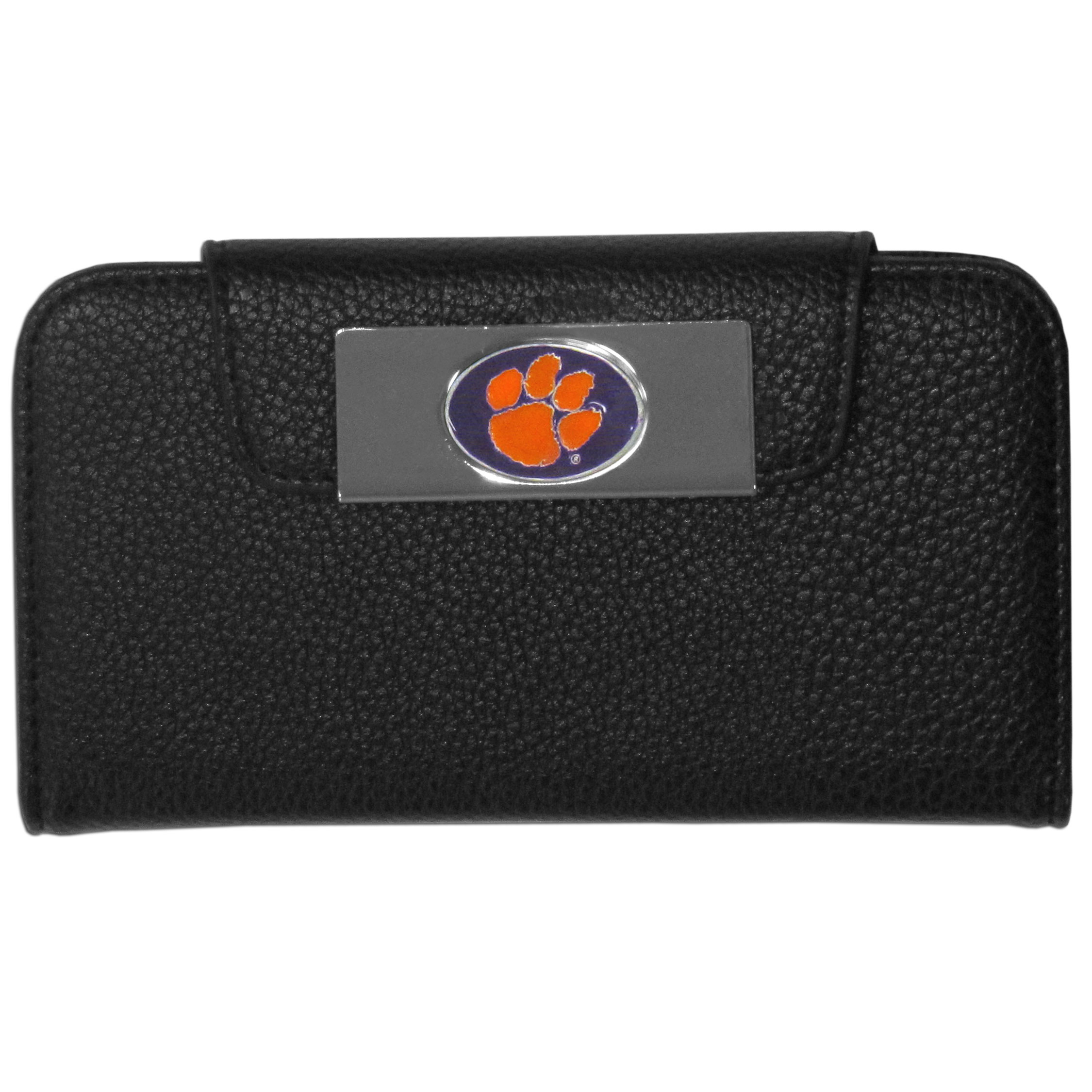 Clemson Tigers Samsung Galaxy S4 Wallet Case - This new & wildly popular case is ideal for those who like to travel light! The stylish case has an inner hard shell that securely holds your phone while allowing complete access to the phone's functionality. The flip cover has slots for credit cards, business cards and identification. The magnetic flip cover has a metal Clemson Tigers emblem on a high polish chrome backing. Fits the Samsung Galaxy S4