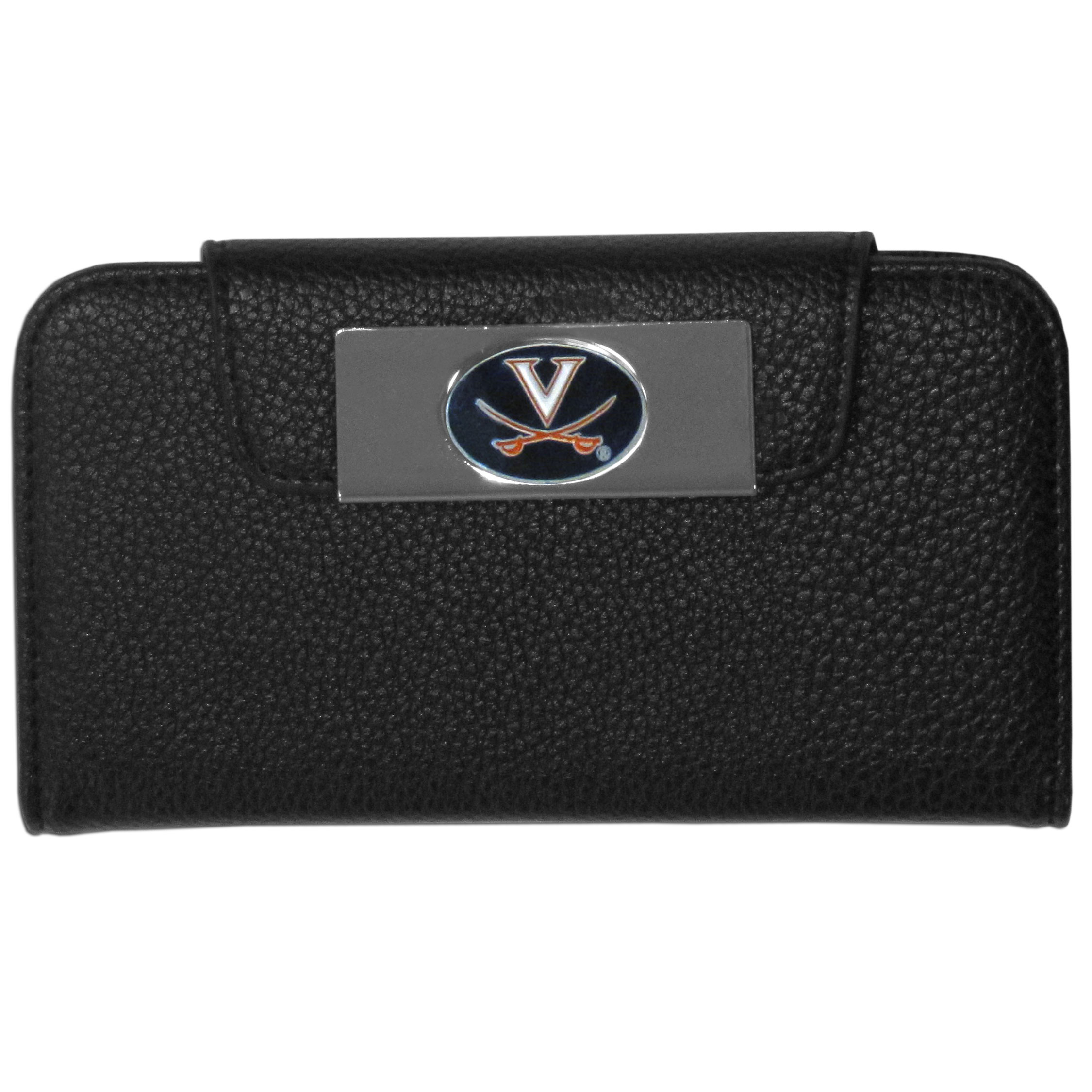 Virginia Cavaliers Samsung Galaxy S4 Wallet Case - This new & wildly popular case is ideal for those who like to travel light! The stylish case has an inner hard shell that securely holds your phone while allowing complete access to the phone's functionality. The flip cover has slots for credit cards, business cards and identification. The magnetic flip cover has a metal Virginia Cavaliers emblem on a high polish chrome backing. Fits the Samsung Galaxy S4