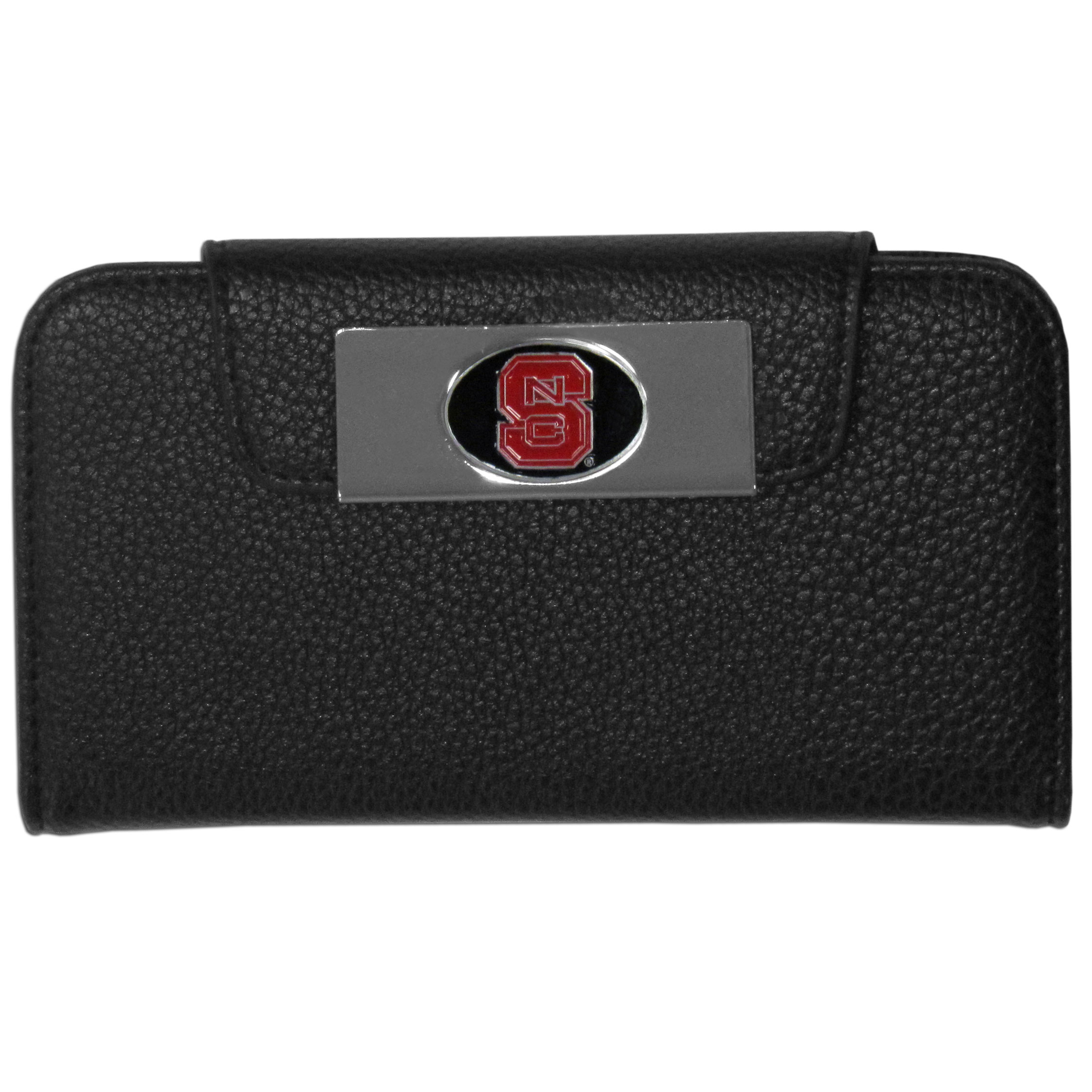 N. Carolina St. Wolfpack Samsung Galaxy S4 Wallet Case - This new & wildly popular case is ideal for those who like to travel light! The stylish case has an inner hard shell that securely holds your phone while allowing complete access to the phone's functionality. The flip cover has slots for credit cards, business cards and identification. The magnetic flip cover has a metal N. Carolina St. Wolfpack emblem on a high polish chrome backing. Fits the Samsung Galaxy S4
