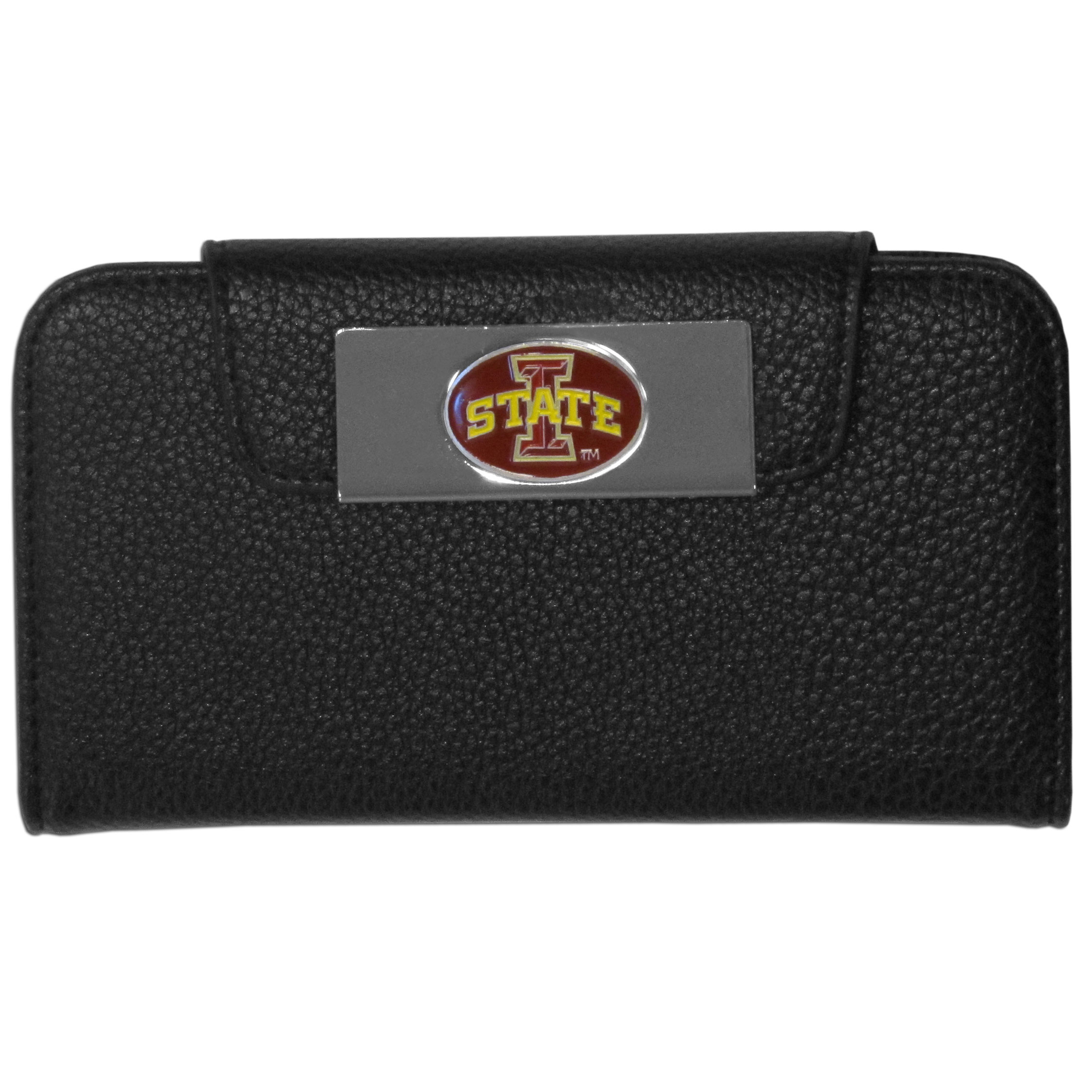 Iowa St. Cyclones Samsung Galaxy S4 Wallet Case - This new & wildly popular case is ideal for those who like to travel light! The stylish case has an inner hard shell that securely holds your phone while allowing complete access to the phone's functionality. The flip cover has slots for credit cards, business cards and identification. The magnetic flip cover has a metal Iowa St. Cyclones emblem on a high polish chrome backing. Fits the Samsung Galaxy S4