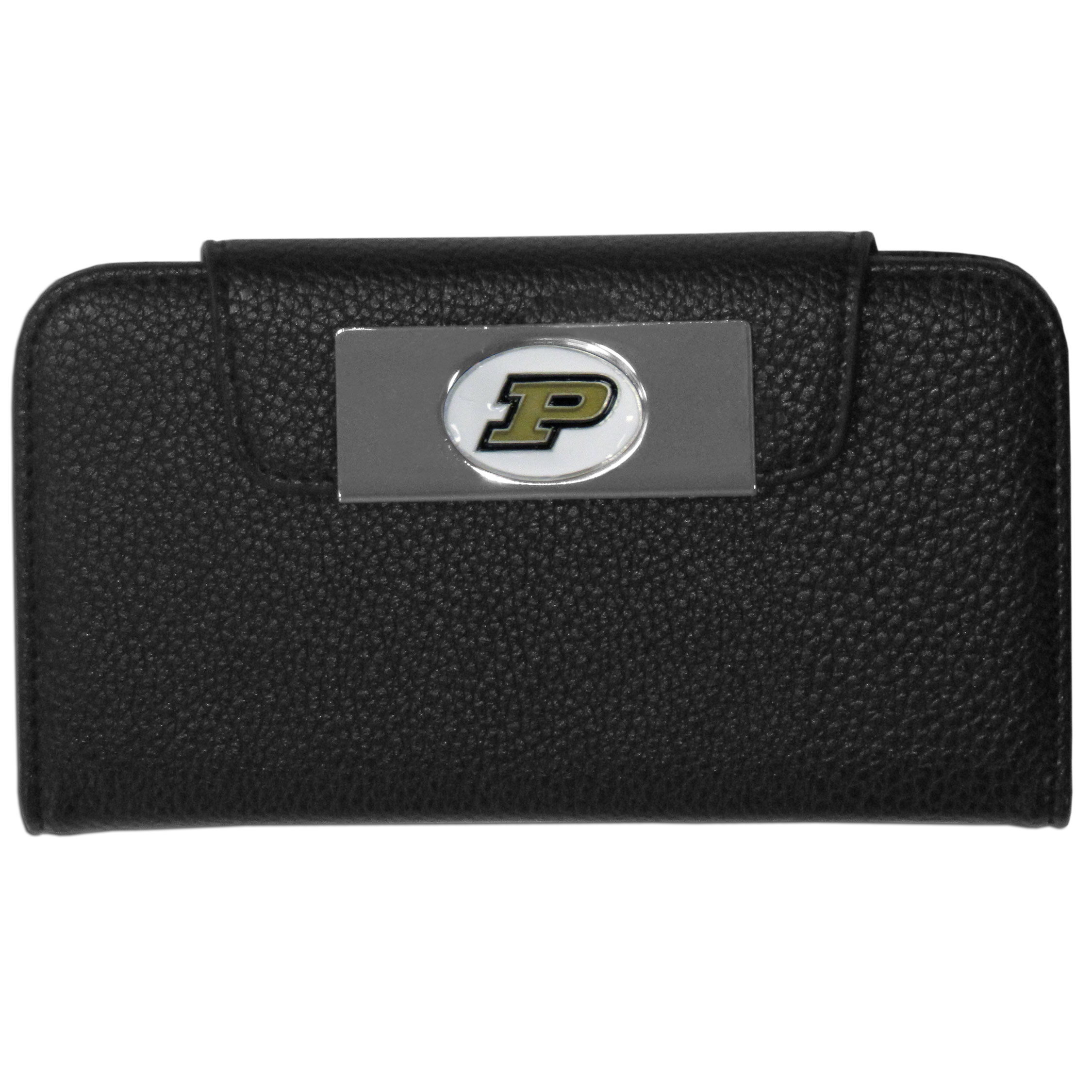 Purdue Boilermakers Samsung Galaxy S4 Wallet Case - This new & wildly popular case is ideal for those who like to travel light! The stylish case has an inner hard shell that securely holds your phone while allowing complete access to the phone's functionality. The flip cover has slots for credit cards, business cards and identification. The magnetic flip cover has a metal Purdue Boilermakers emblem on a high polish chrome backing. Fits the Samsung Galaxy S4