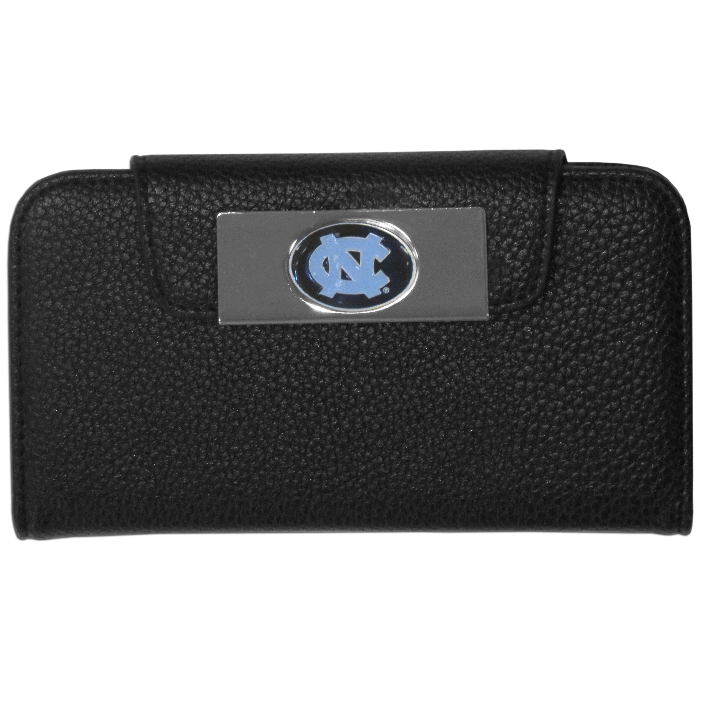 N. Carolina Tar Heels Samsung Galaxy S4 Wallet Case - This new & wildly popular case is ideal for those who like to travel light! The stylish case has an inner hard shell that securely holds your phone while allowing complete access to the phone's functionality. The flip cover has slots for credit cards, business cards and identification. The magnetic flip cover has a metal N. Carolina Tar Heels emblem on a high polish chrome backing. Fits the Samsung Galaxy S4
