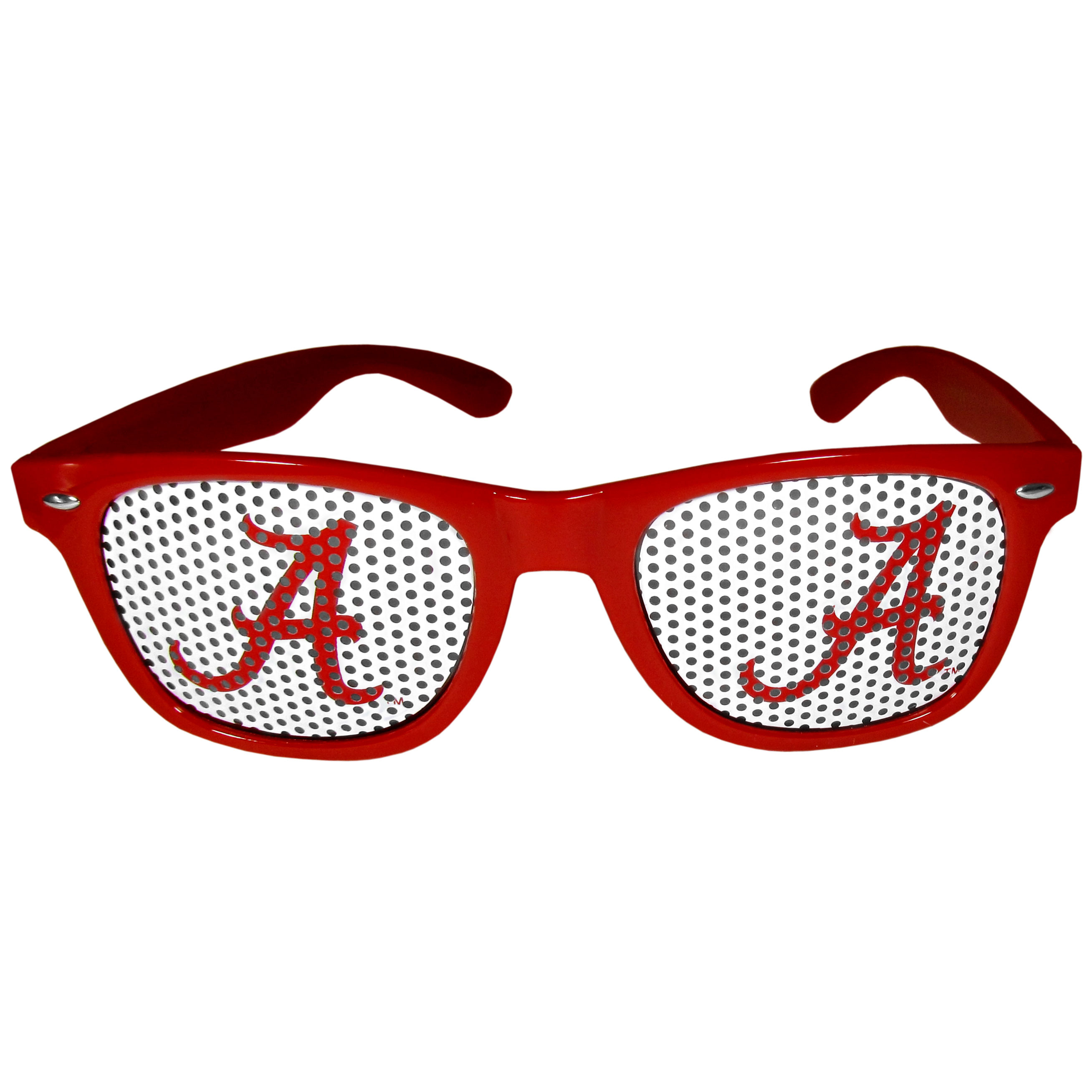 Alabama Crimson Tide Game Day Shades - Our officially licensed game day shades are the perfect accessory for the devoted Alabama Crimson Tide fan! The sunglasses have durable polycarbonate frames with flex hinges for comfort and damage resistance. The lenses feature brightly colored team clings that are perforated for visibility.