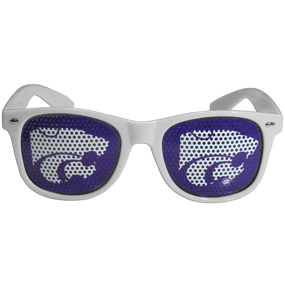 Kansas St. Wildcats Game Day Shades - Our officially licensed game day shades are the perfect accessory for the devoted Kansas St. Wildcats fan! The sunglasses have durable polycarbonate frames with flex hinges for comfort and damage resistance. The lenses feature brightly colored team clings that are perforated for visibility.