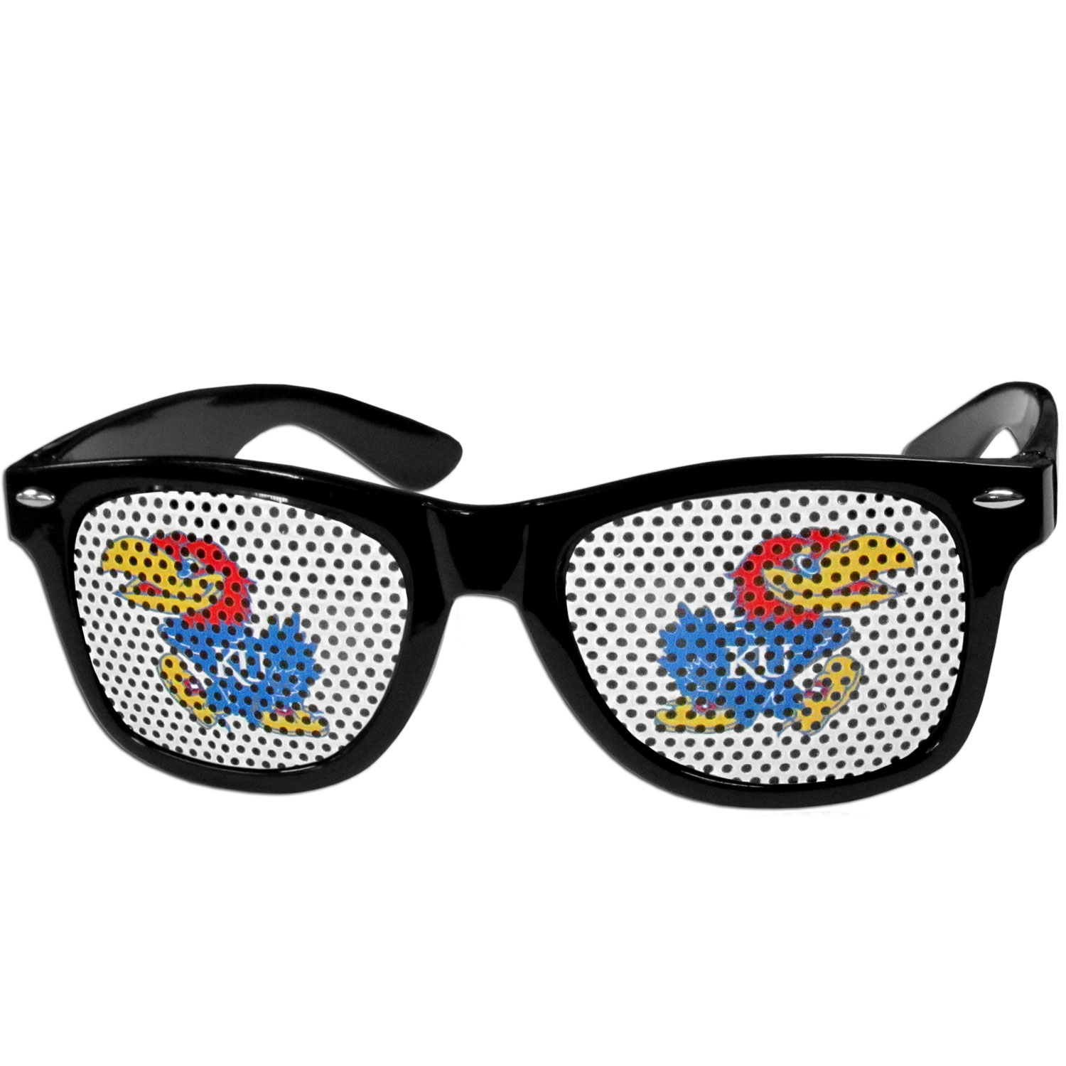 Kansas Jayhawks Game Day Shades - Our officially licensed game day shades are the perfect accessory for the devoted Kansas Jayhawks fan! The sunglasses have durable polycarbonate frames with flex hinges for comfort and damage resistance. The lenses feature brightly colored team clings that are perforated for visibility.