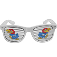 Kansas Jayhawks Game Day Shades - These officially licensed Kansas Jayhawks college game day shades are the perfect accessory for the devoted Kansas Jayhawks fan! The sunglasses have durable polycarbonate frames with flex hinges for comfort and damage resistance. The lenses feature brightly colored team clings that are perforated for visibility. Thank you for shopping with CrazedOutSports.com