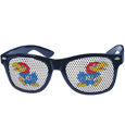 Kansas Jayhawks Game Day Shades - These officially licensed Kansas Jayhawks college game day shades are the perfect accessory for the devoted Kansas Jayhawks! The sunglasses have durable polycarbonate frames with flex hinges for comfort and damage resistance. The lenses feature brightly colored team clings that are perforated for visibility. Thank you for shopping with CrazedOutSports.com