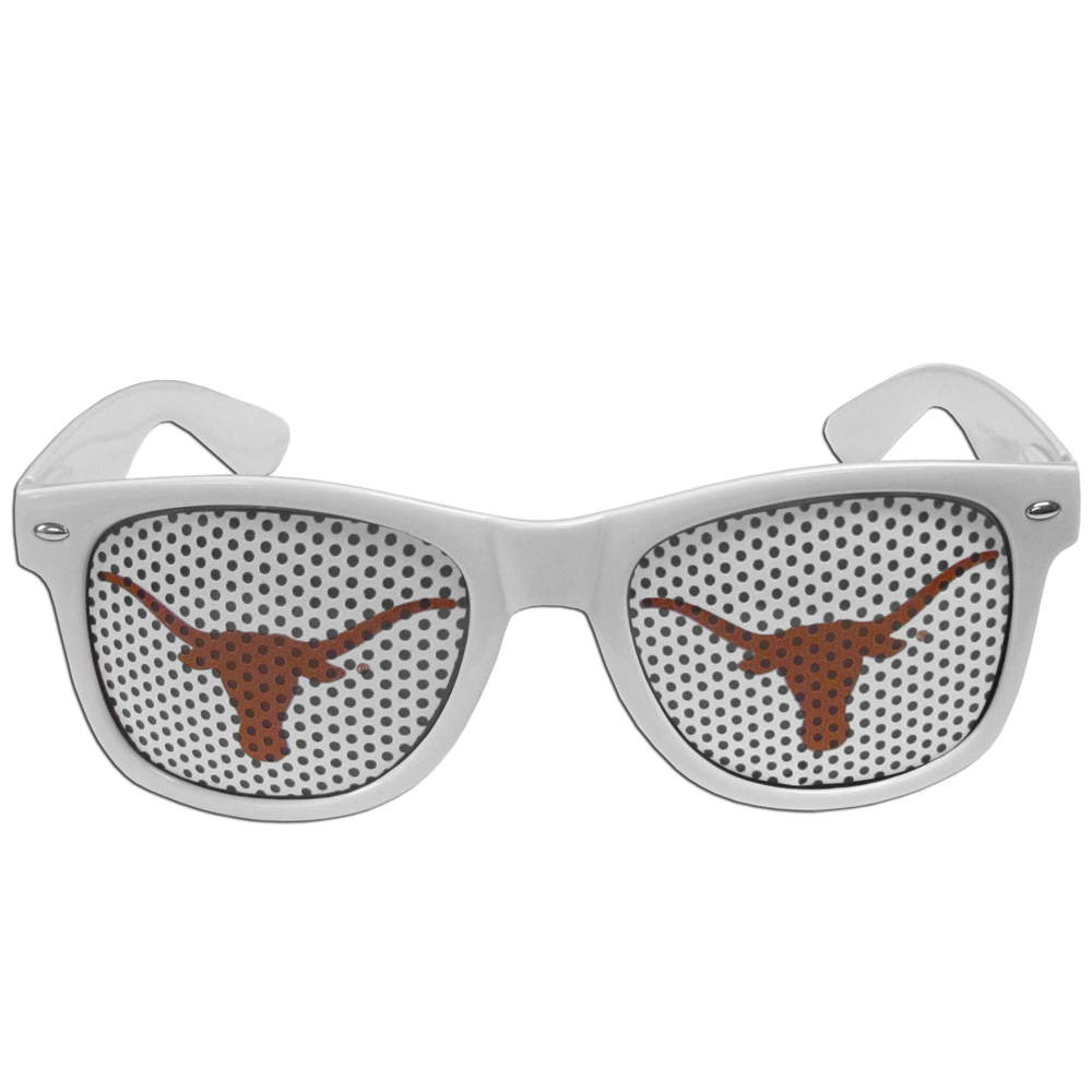 Texas Longhorns Game Day Shades - Our officially licensed game day shades are the perfect accessory for the devoted Texas Longhorns fan! The sunglasses have durable polycarbonate frames with flex hinges for comfort and damage resistance. The lenses feature brightly colored team clings that are perforated for visibility.
