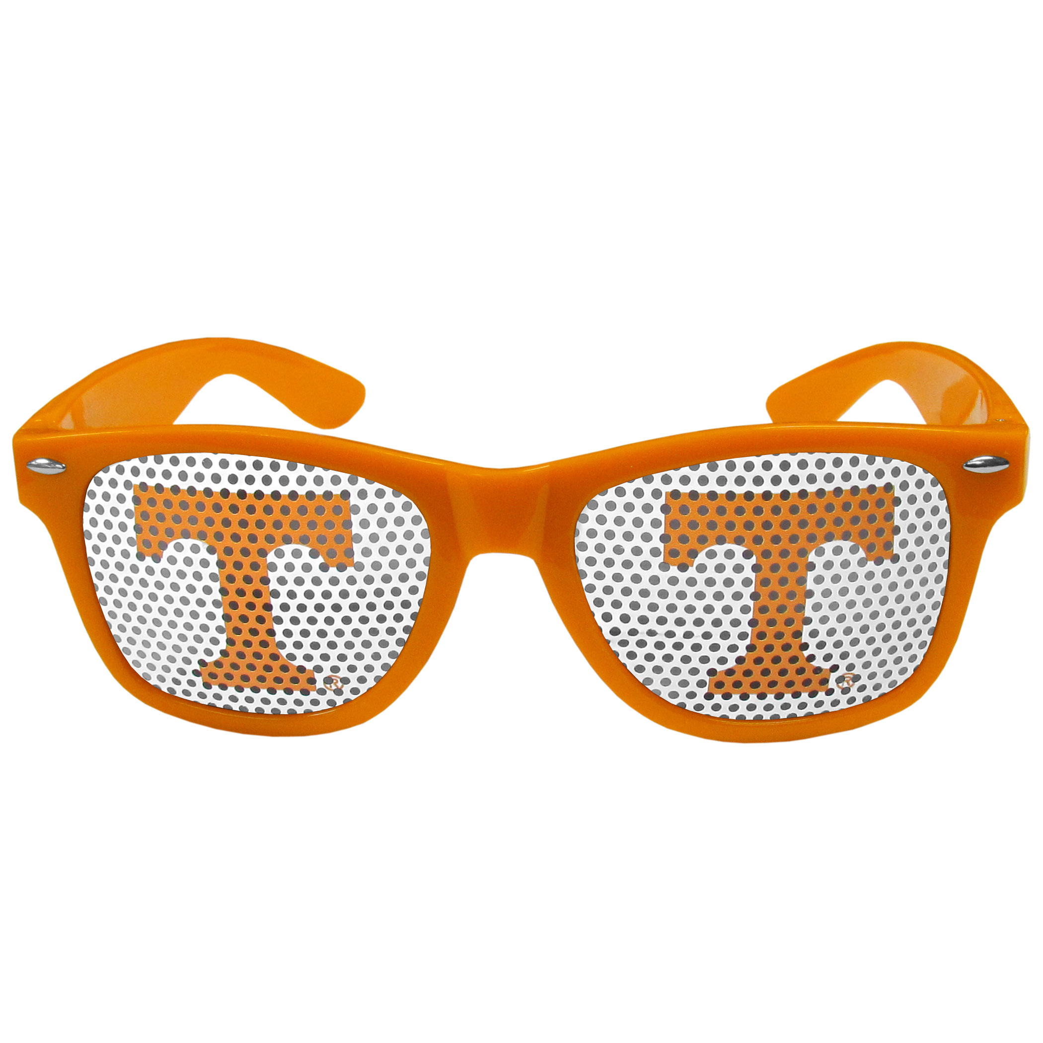 Tennessee Volunteers Game Day Shades - Our officially licensed game day shades are the perfect accessory for the devoted Tennessee Volunteers fan! The sunglasses have durable polycarbonate frames with flex hinges for comfort and damage resistance. The lenses feature brightly colored team clings that are perforated for visibility.