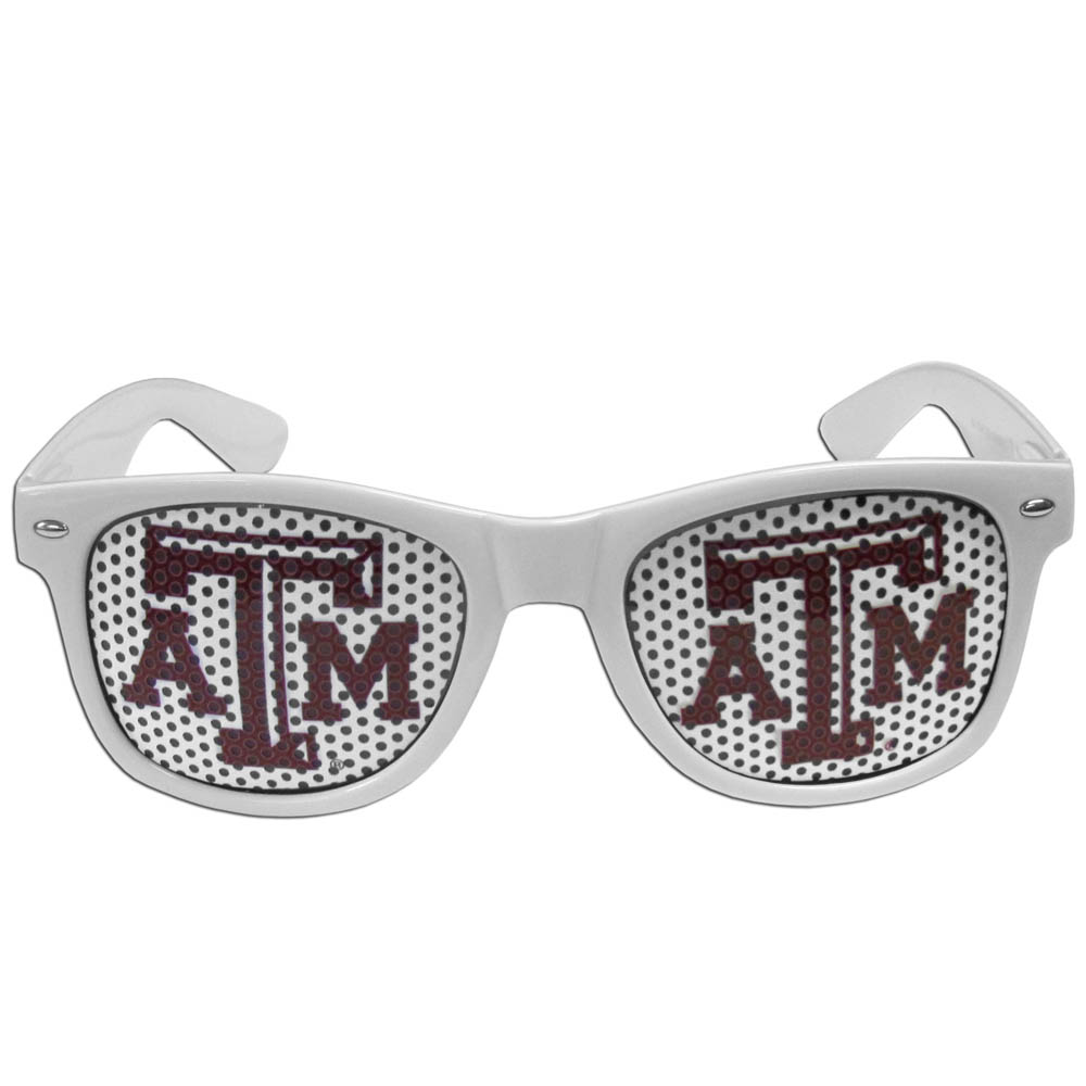 Texas A and M Aggies Game Day Shades - Our officially licensed game day shades are the perfect accessory for the devoted Texas A & M Aggies fan! The sunglasses have durable polycarbonate frames with flex hinges for comfort and damage resistance. The lenses feature brightly colored team clings that are perforated for visibility.