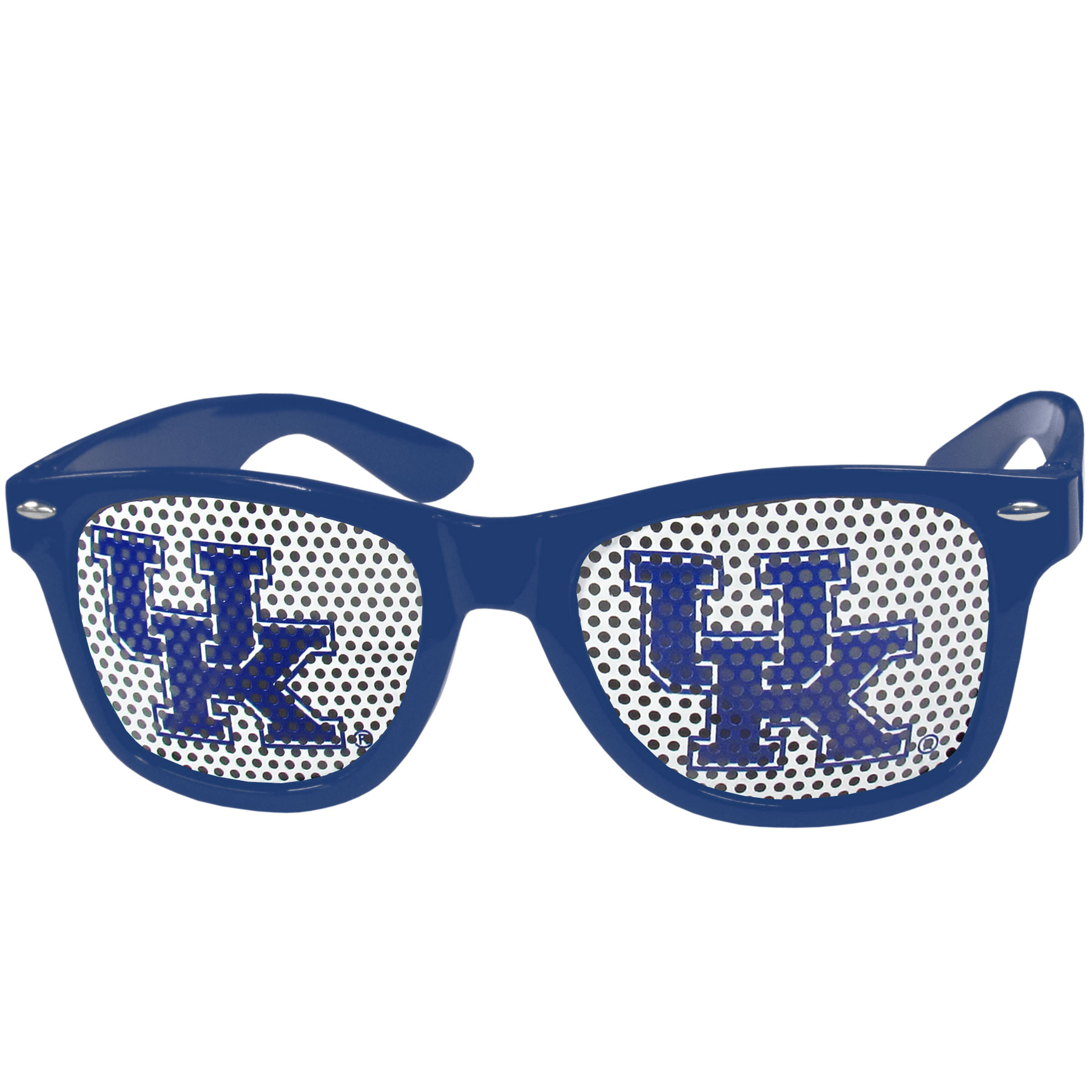 Kentucky Wildcats Game Day Shades - Our officially licensed game day shades are the perfect accessory for the devoted Kentucky Wildcats fan! The sunglasses have durable polycarbonate frames with flex hinges for comfort and damage resistance. The lenses feature brightly colored team clings that are perforated for visibility.