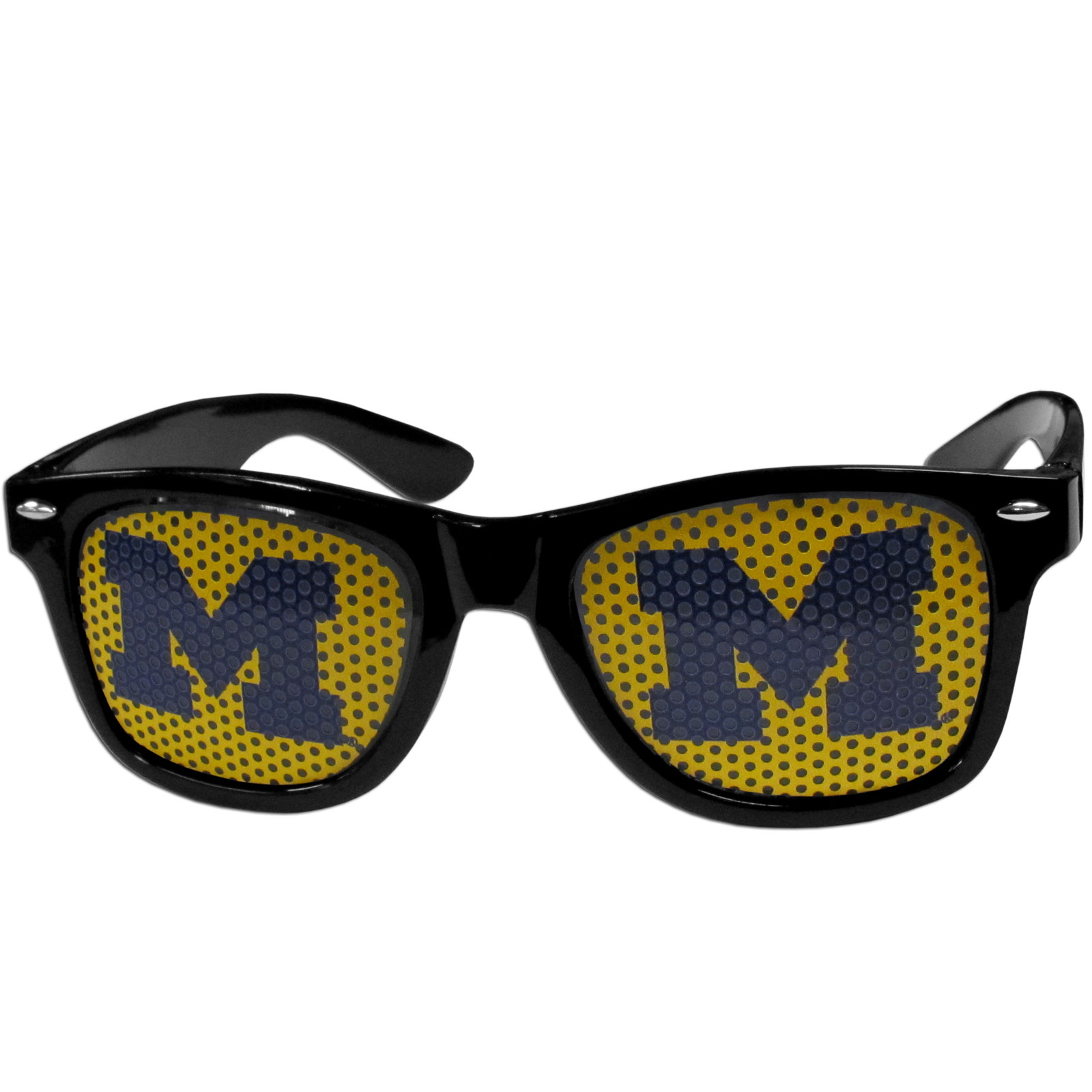Michigan Wolverines Game Day Shades - Our officially licensed game day shades are the perfect accessory for the devoted Michigan Wolverines fan! The sunglasses have durable polycarbonate frames with flex hinges for comfort and damage resistance. The lenses feature brightly colored team clings that are perforated for visibility.