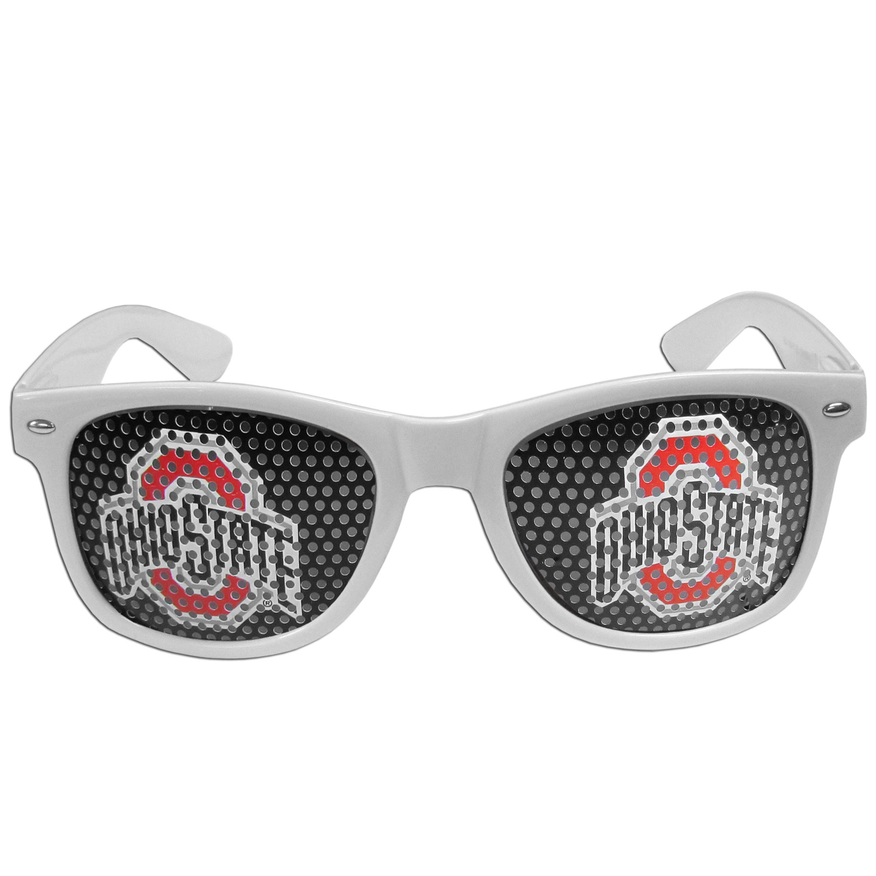 Ohio St. Buckeyes Game Day Shades - Our officially licensed game day shades are the perfect accessory for the devoted Ohio St. Buckeyes fan! The sunglasses have durable polycarbonate frames with flex hinges for comfort and damage resistance. The lenses feature brightly colored team clings that are perforated for visibility.