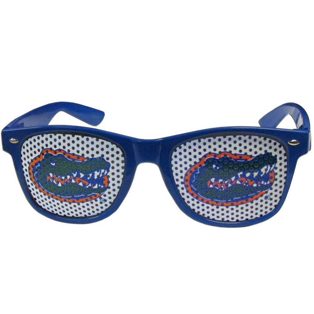 Florida Gators Game Day Shades - Our officially licensed game day shades are the perfect accessory for the devoted Florida Gators fan! The sunglasses have durable polycarbonate frames with flex hinges for comfort and damage resistance. The lenses feature brightly colored team clings that are perforated for visibility.