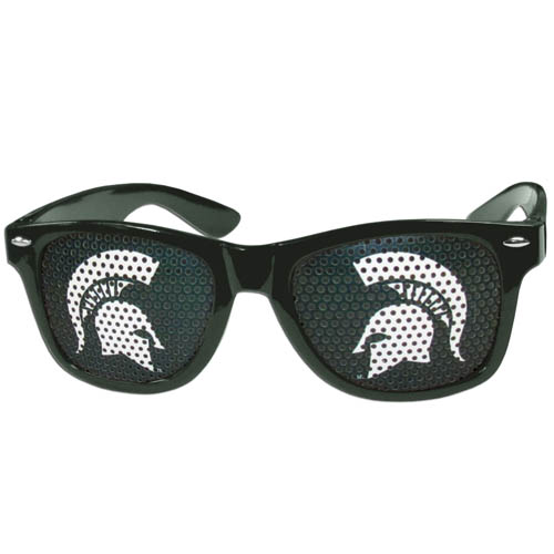 Michigan St. Spartans Game Day Sunglasses - These officially licensed college Michigan St. Spartans Game Day Sunglasses are the perfect accessory for the devoted fan! The Michigan St. Spartans Game Day Sunglasses have durable polycarbonate frames with flex hinges for comfort and damage resistance. The lenses feature brightly colored team clings that are perforated for visibility. Thank you for shopping with CrazedOutSports.com