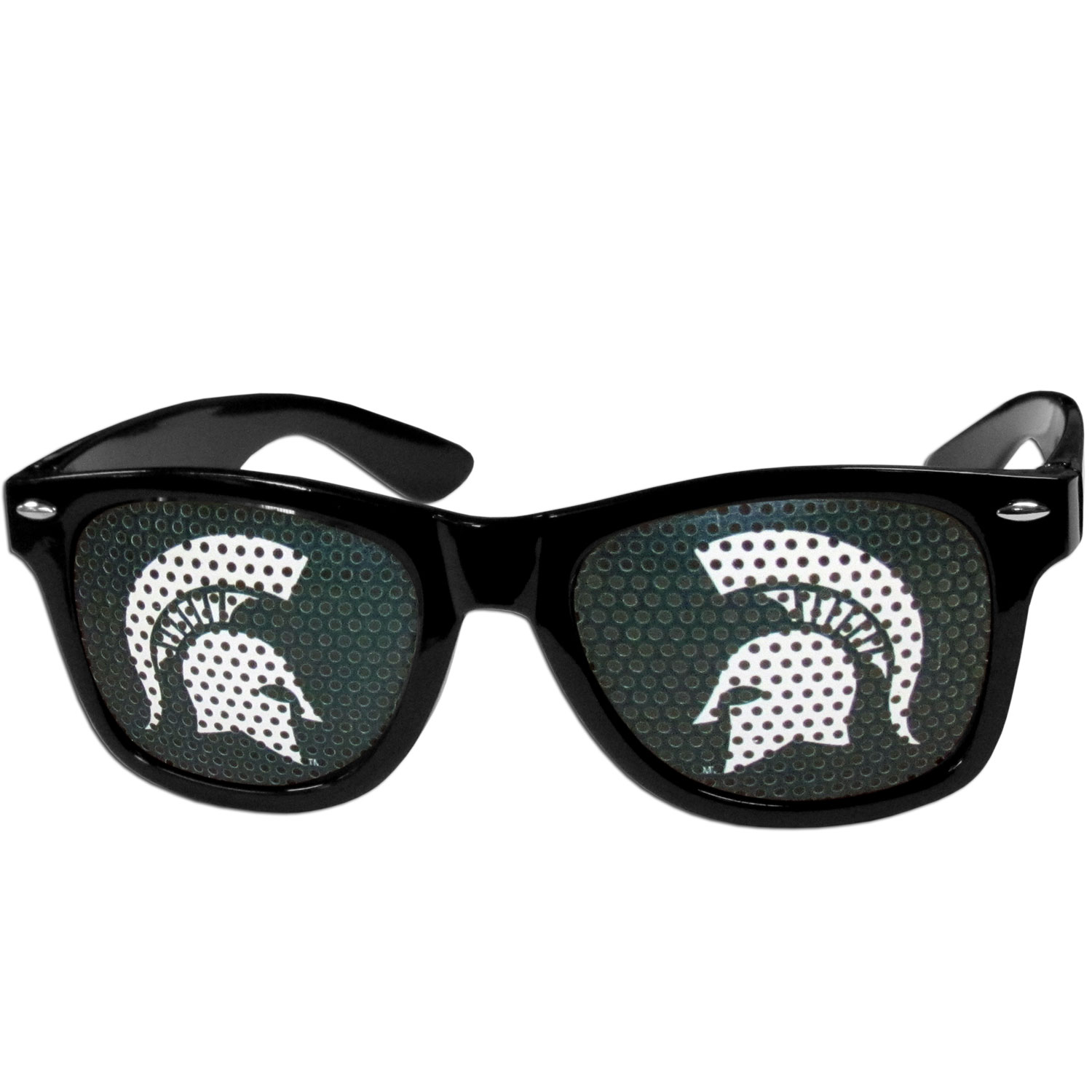 Michigan St. Spartans Game Day Shades - Our officially licensed game day shades are the perfect accessory for the devoted Michigan St. Spartans fan! The sunglasses have durable polycarbonate frames with flex hinges for comfort and damage resistance. The lenses feature brightly colored team clings that are perforated for visibility.