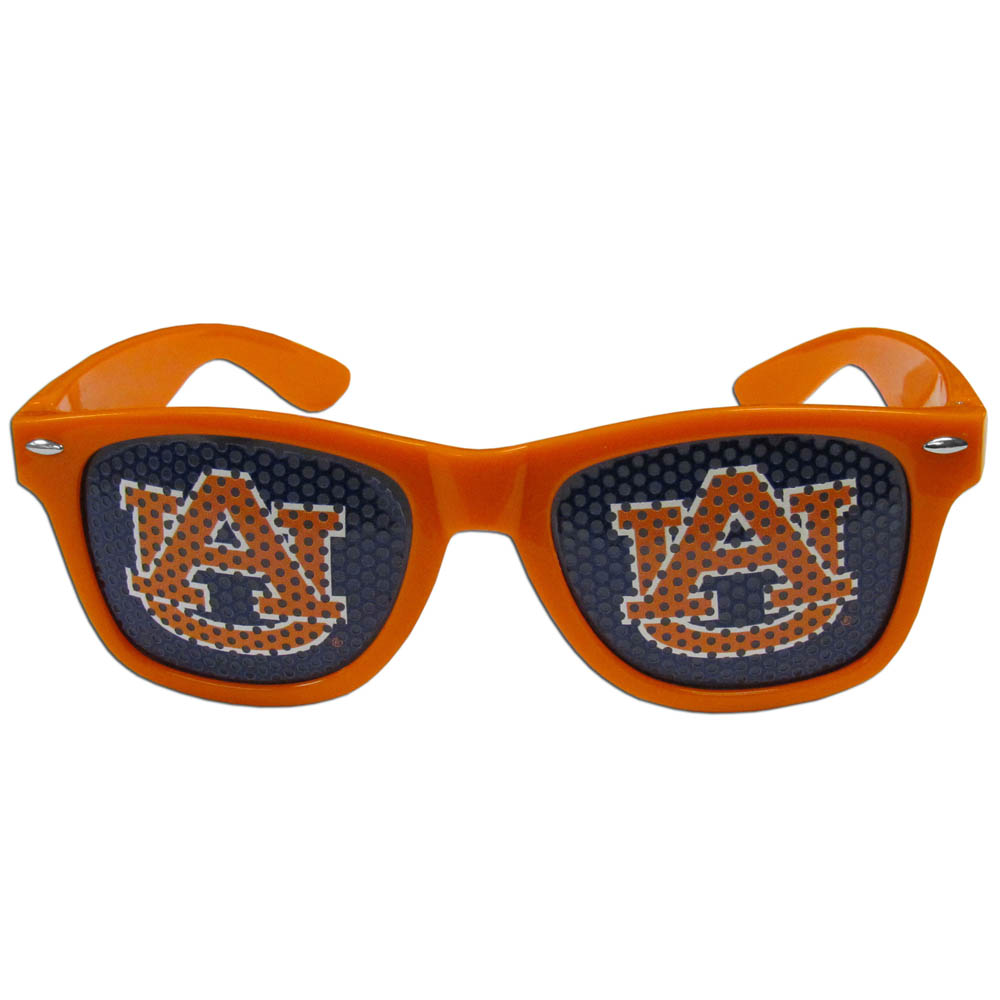 Auburn Tigers Game Day Shades - Our officially licensed game day shades are the perfect accessory for the devoted Auburn Tigers fan! The sunglasses have durable polycarbonate frames with flex hinges for comfort and damage resistance. The lenses feature brightly colored team clings that are perforated for visibility.