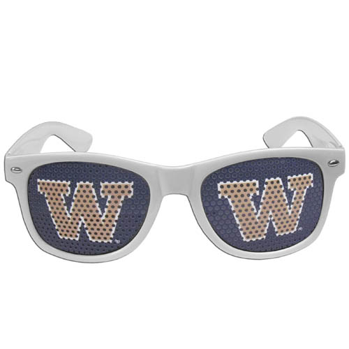 Washington Huskies Game Day s - Our officially licensed college game day s are the perfect accessory for the devoted Arkansas Razorbacks fan! The sunglasses have durable polycarbonate frames with flex hinges for comfort and damage resistance. The lenses feature brightly colored team clings that are perforated for visibility. Thank you for shopping with CrazedOutSports.com