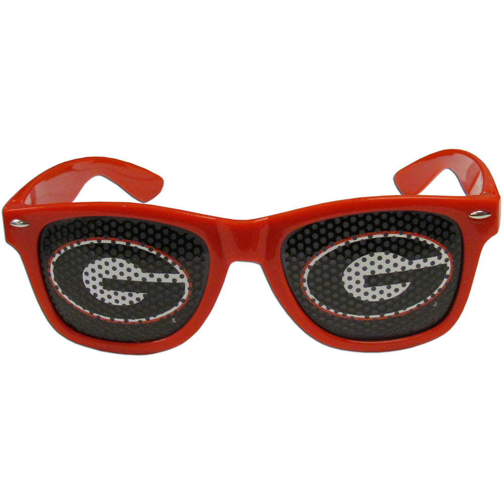 Georgia Bulldogs Game Day Shades - Our officially licensed game day shades are the perfect accessory for the devoted Georgia Bulldogs fan! The sunglasses have durable polycarbonate frames with flex hinges for comfort and damage resistance. The lenses feature brightly colored team clings that are perforated for visibility.