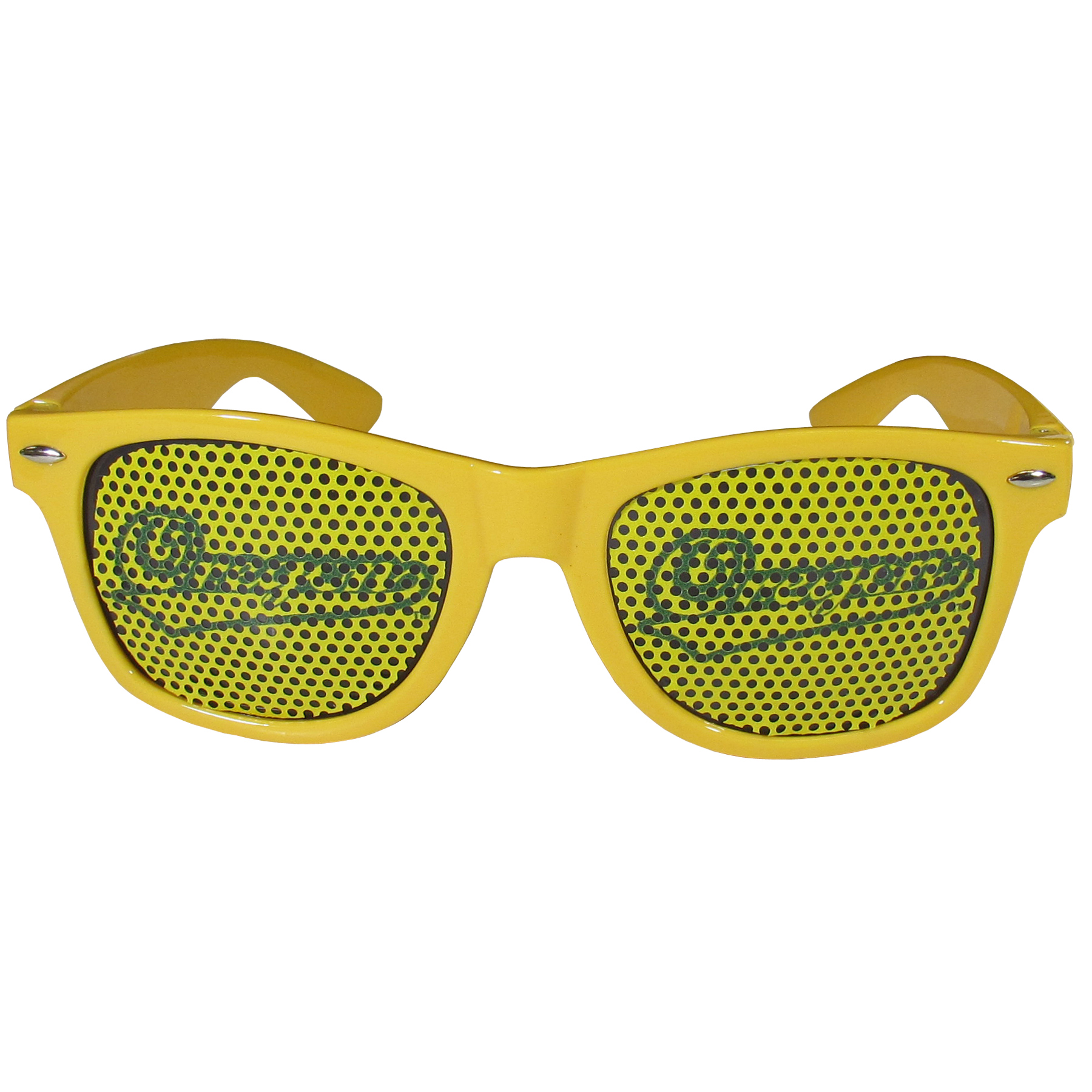 Oregon Ducks Game Day Shades - Our officially licensed game day shades are the perfect accessory for the devoted Oregon Ducks fan! The sunglasses have durable polycarbonate frames with flex hinges for comfort and damage resistance. The lenses feature brightly colored team clings that are perforated for visibility.