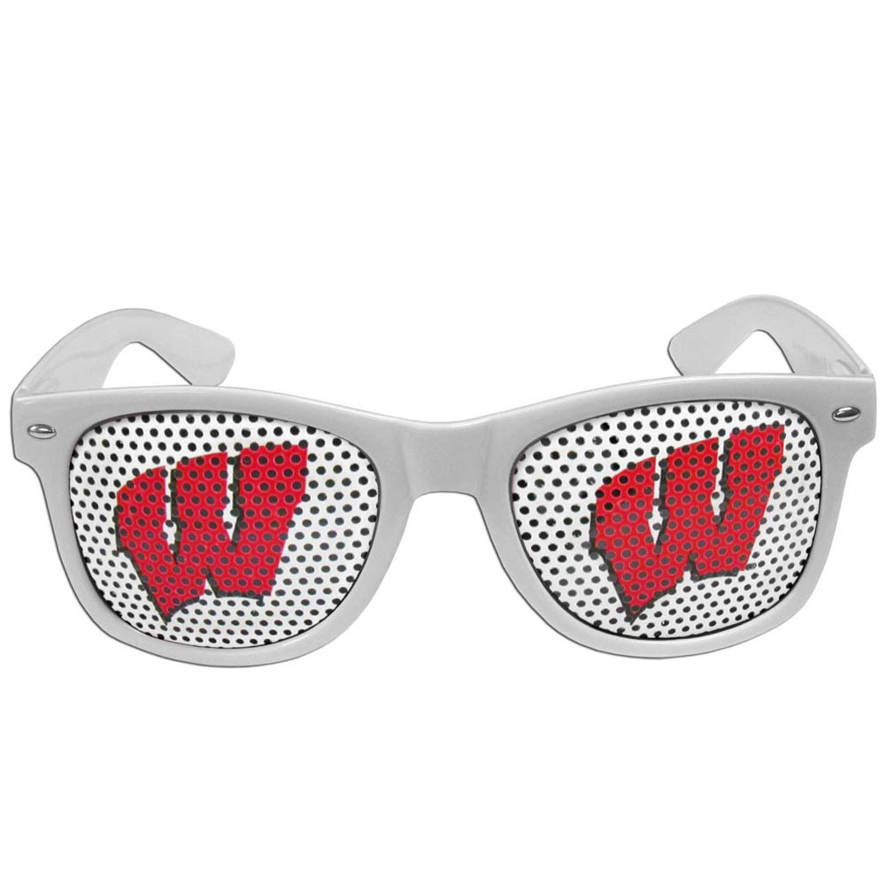 Wisconsin Badgers Game Day Shades - Our officially licensed game day shades are the perfect accessory for the devoted Wisconsin Badgers fan! The sunglasses have durable polycarbonate frames with flex hinges for comfort and damage resistance. The lenses feature brightly colored team clings that are perforated for visibility.