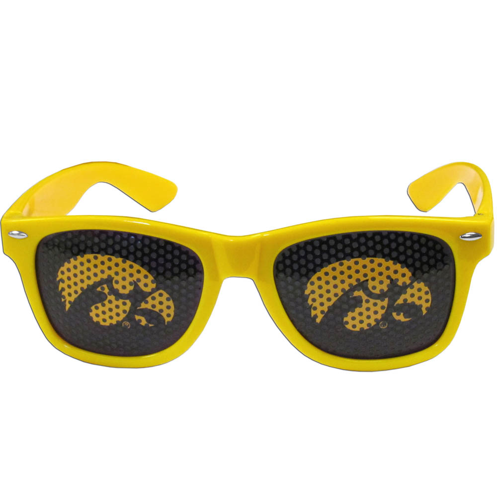 Iowa Hawkeyes Game Day Shades - Our officially licensed game day shades are the perfect accessory for the devoted Iowa Hawkeyes fan! The sunglasses have durable polycarbonate frames with flex hinges for comfort and damage resistance. The lenses feature brightly colored team clings that are perforated for visibility.