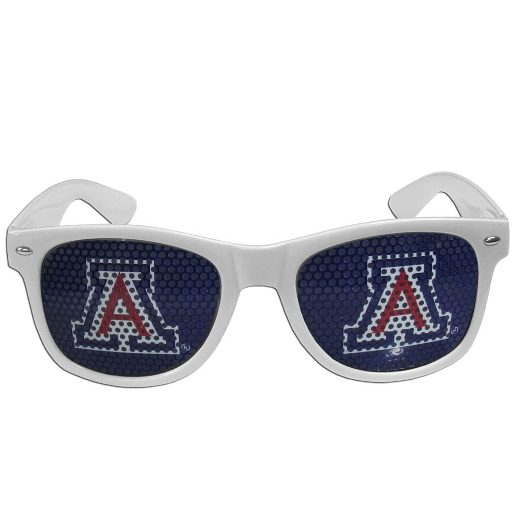 Arizona Wildcats Game Day Shades - Our officially licensed game day shades are the perfect accessory for the devoted Arizona Wildcats fan! The sunglasses have durable polycarbonate frames with flex hinges for comfort and damage resistance. The lenses feature brightly colored team clings that are perforated for visibility.