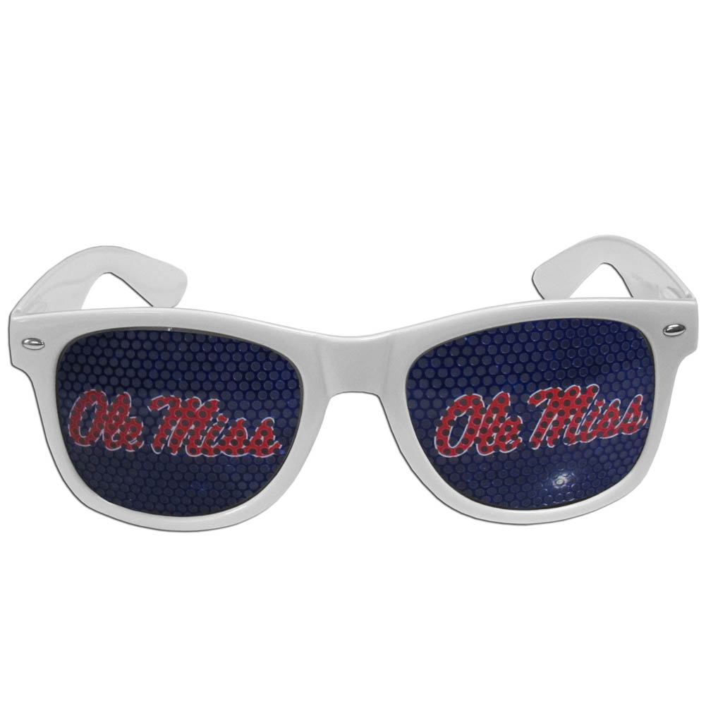 Mississippi Rebels Game Day Shades - Our officially licensed game day shades are the perfect accessory for the devoted Mississippi Rebels fan! The sunglasses have durable polycarbonate frames with flex hinges for comfort and damage resistance. The lenses feature brightly colored team clings that are perforated for visibility.