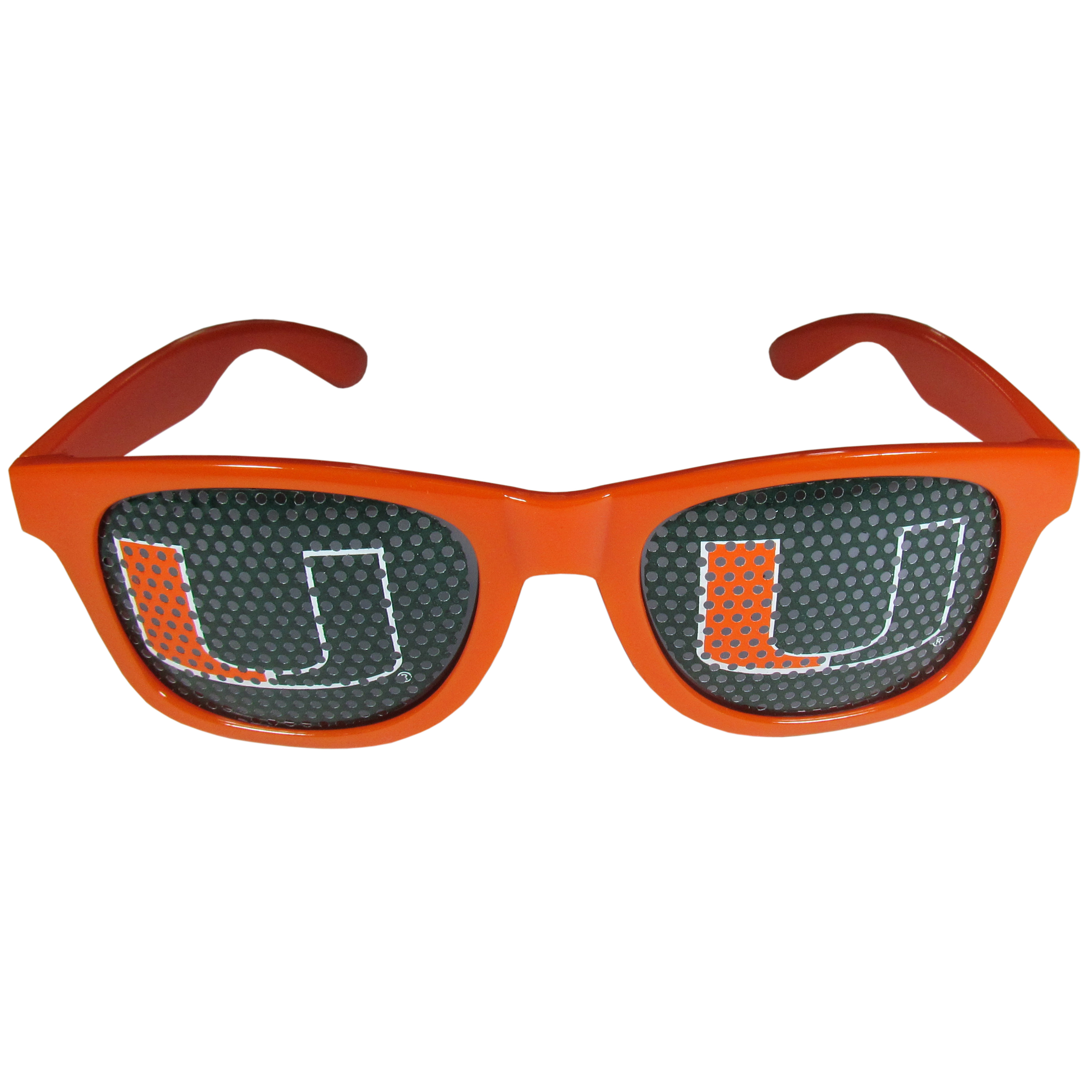 Miami Hurricanes Game Day Shades - Our officially licensed game day shades are the perfect accessory for the devoted Miami Hurricanes fan! The sunglasses have durable polycarbonate frames with flex hinges for comfort and damage resistance. The lenses feature brightly colored team clings that are perforated for visibility.