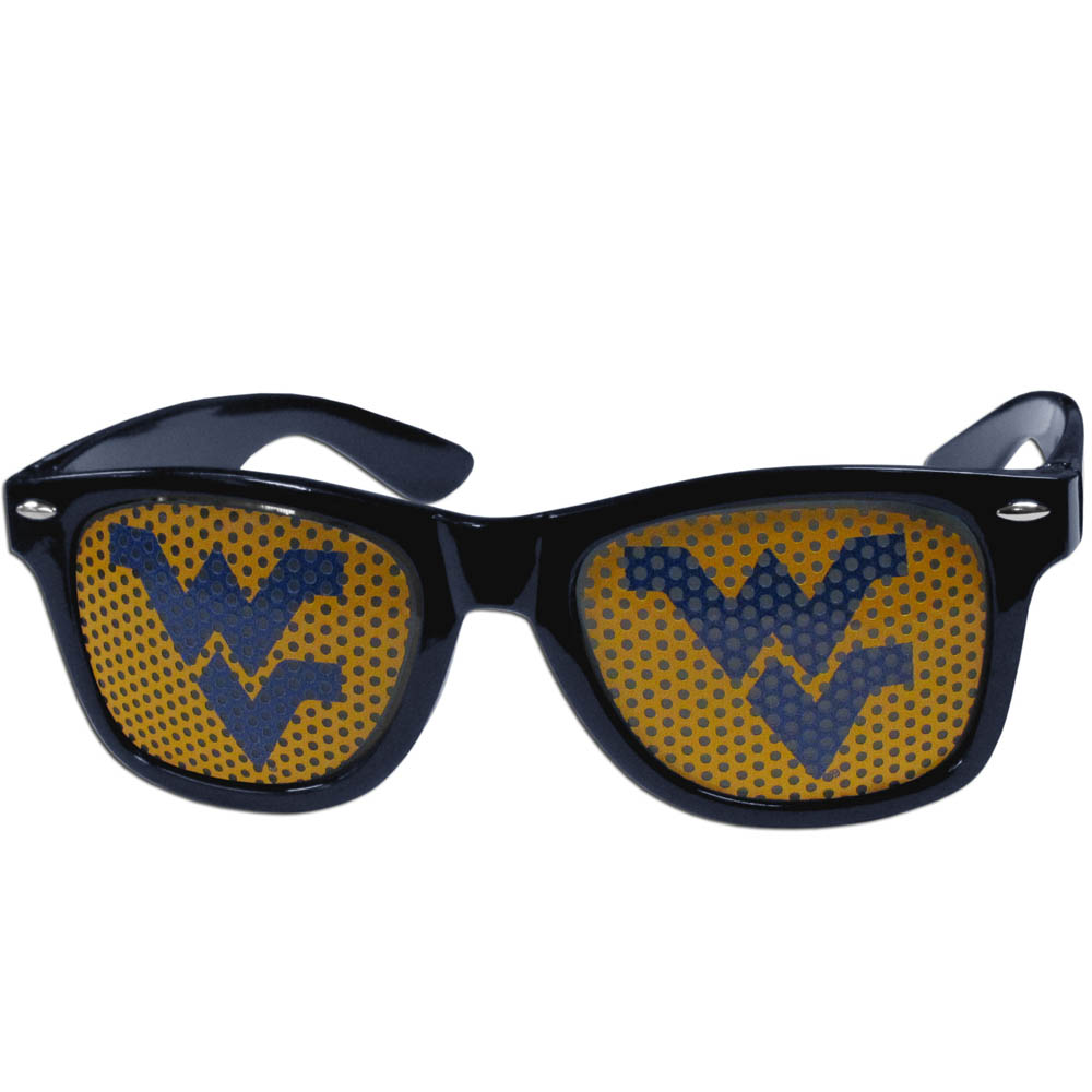 W. Virginia Mountaineers Game Day Shades - Our officially licensed game day shades are the perfect accessory for the devoted W. Virginia Mountaineers fan! The sunglasses have durable polycarbonate frames with flex hinges for comfort and damage resistance. The lenses feature brightly colored team clings that are perforated for visibility.