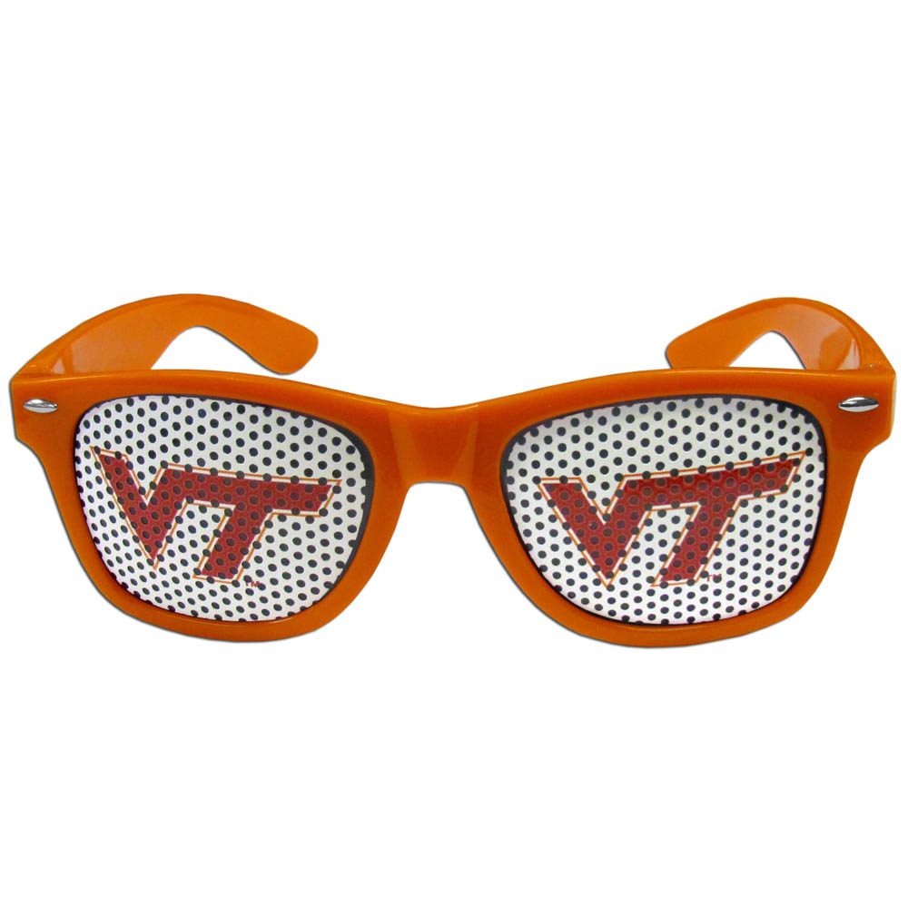Virginia Tech Hokies Game Day Shades - Our officially licensed game day shades are the perfect accessory for the devoted Virginia Tech Hokies fan! The sunglasses have durable polycarbonate frames with flex hinges for comfort and damage resistance. The lenses feature brightly colored team clings that are perforated for visibility.