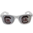 S. Carolina Gamecocks Game Day Shades - Our officially licensed college game day shades are the perfect accessory for the devoted S. Carolina Gamecocks fan! The sunglasses have durable polycarbonate frames with flex hinges for comfort and damage resistance. The lenses feature brightly colored team clings that are perforated for visibility. Thank you for shopping with CrazedOutSports.com