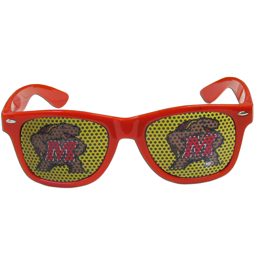 Maryland Terrapins Game Day Shades - Our officially licensed game day shades are the perfect accessory for the devoted Maryland Terrapins fan! The sunglasses have durable polycarbonate frames with flex hinges for comfort and damage resistance. The lenses feature brightly colored team clings that are perforated for visibility.