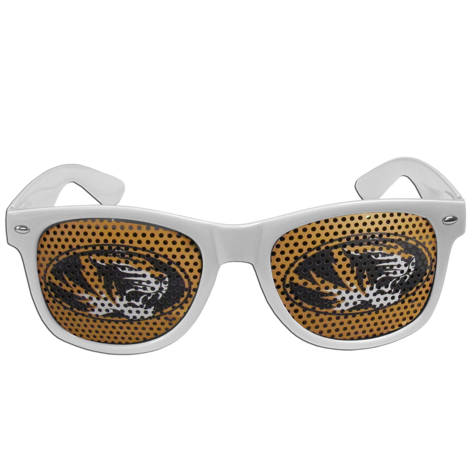 Missouri Tigers Game Day Shades - Our officially licensed game day shades are the perfect accessory for the devoted Missouri Tigers fan! The sunglasses have durable polycarbonate frames with flex hinges for comfort and damage resistance. The lenses feature brightly colored team clings that are perforated for visibility.