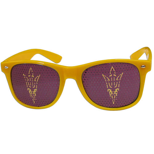 Arizona St. Sun Devils Game Day Shades  - Our officially licensed college game day glasses are the perfect accessory for the devoted Arizona State Sun Devils fan! The sunglasses have durable polycarbonate frames with flex hinges for comfort and damage resistance. The lenses feature brightly colored team clings that are perforated for visibility. Thank you for shopping with CrazedOutSports.com