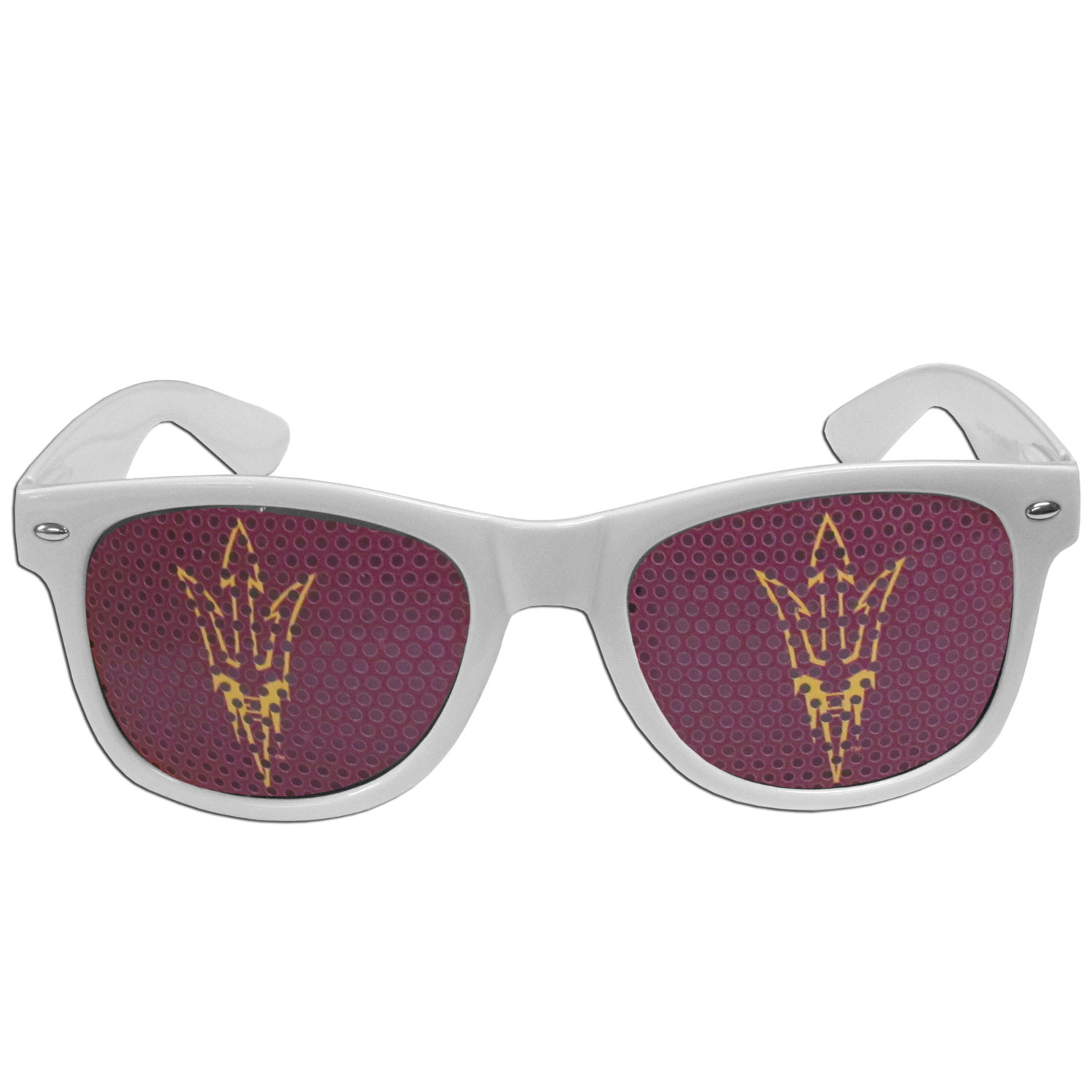 Arizona St. Sun Devils Game Day Shades - Our officially licensed game day shades are the perfect accessory for the devoted Arizona St. Sun Devils fan! The sunglasses have durable polycarbonate frames with flex hinges for comfort and damage resistance. The lenses feature brightly colored team clings that are perforated for visibility.