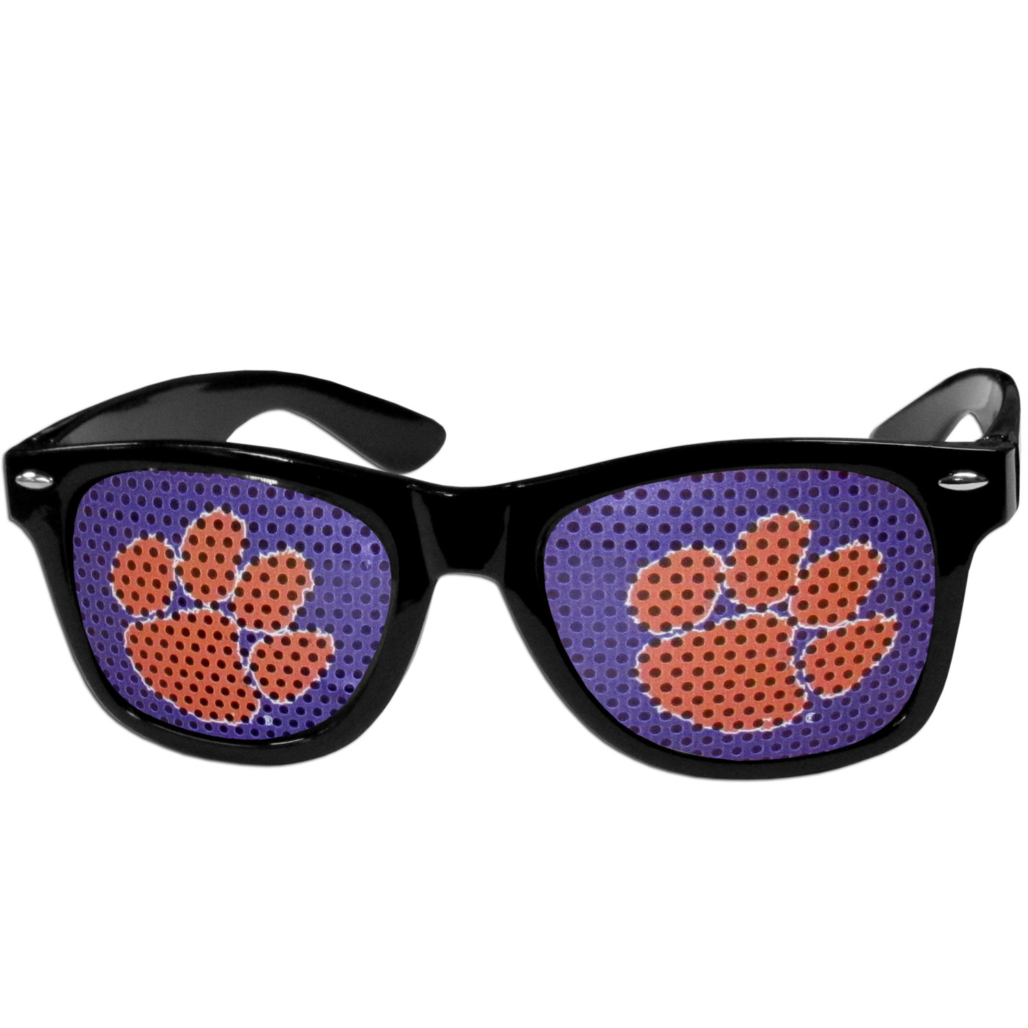 Clemson Tigers Game Day Shades - Our officially licensed game day shades are the perfect accessory for the devoted Clemson Tigers fan! The sunglasses have durable polycarbonate frames with flex hinges for comfort and damage resistance. The lenses feature brightly colored team clings that are perforated for visibility.