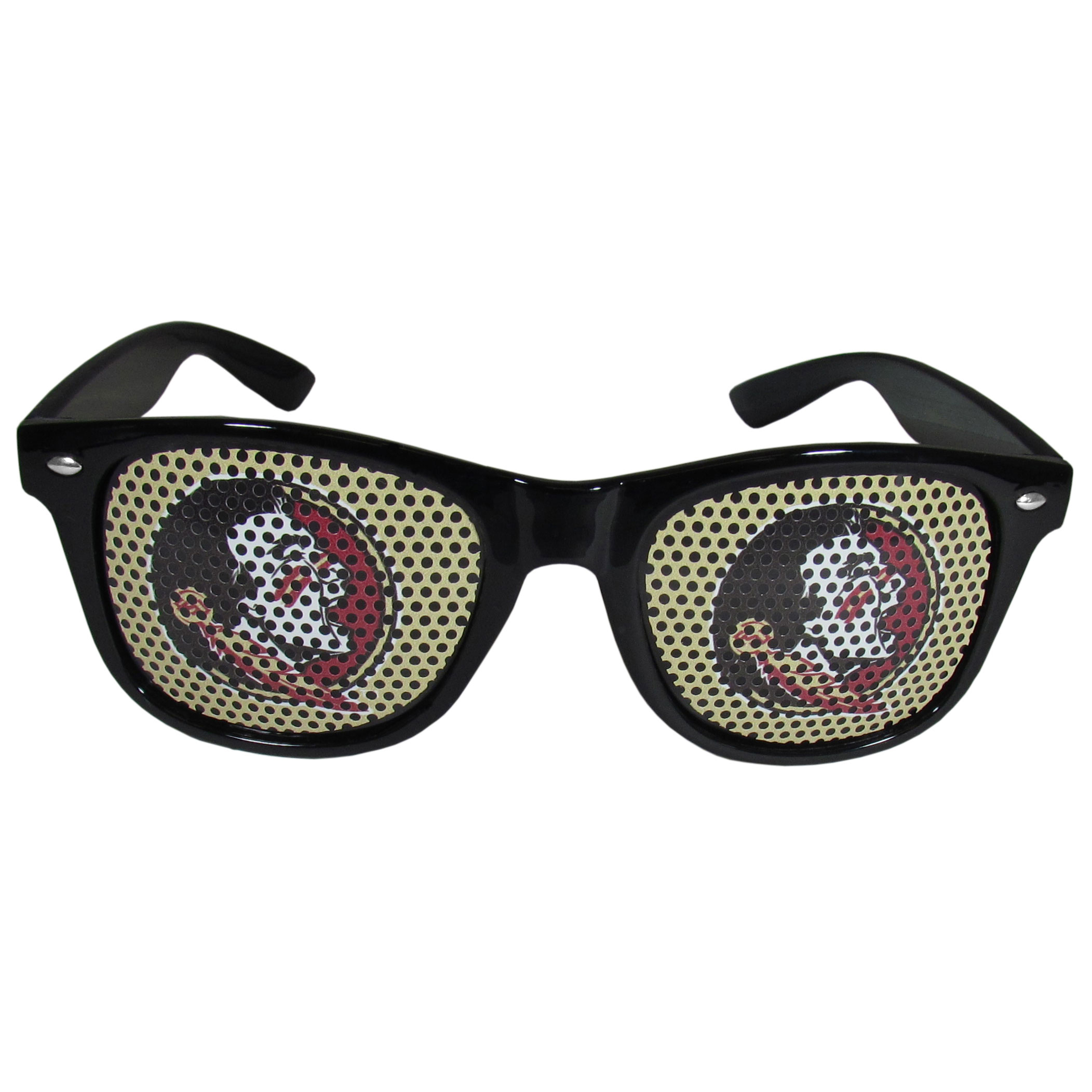 Florida St. Seminoles Game Day Shades - Our officially licensed game day shades are the perfect accessory for the devoted Florida St. Seminoles fan! The sunglasses have durable polycarbonate frames with flex hinges for comfort and damage resistance. The lenses feature brightly colored team clings that are perforated for visibility.