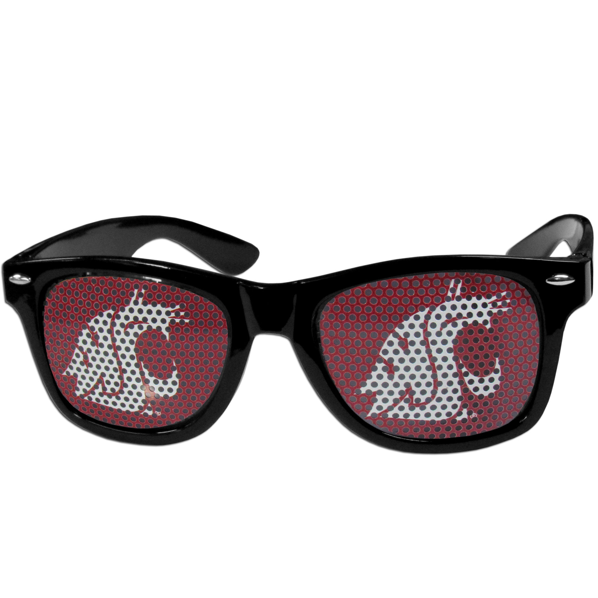 Washington St. Cougars Game Day Shades - Our officially licensed game day shades are the perfect accessory for the devoted Washington St. Cougars fan! The sunglasses have durable polycarbonate frames with flex hinges for comfort and damage resistance. The lenses feature brightly colored team clings that are perforated for visibility.