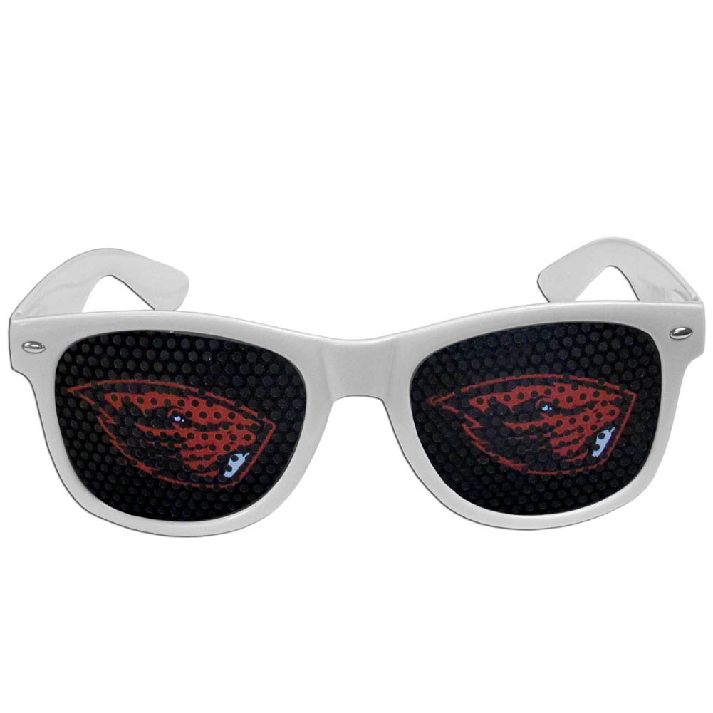 Oregon St. Beavers Game Day Shades - Our officially licensed game day shades are the perfect accessory for the devoted Oregon St. Beavers fan! The sunglasses have durable polycarbonate frames with flex hinges for comfort and damage resistance. The lenses feature brightly colored team clings that are perforated for visibility.