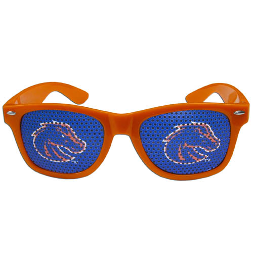 Boise St. Broncos Game Day Glasses - Our officially licensed college game day glasses are the perfect accessory for the devoted Arkansas Razorbacks fan! The sunglasses have durable polycarbonate frames with flex hinges for comfort and damage resistance. The lenses feature brightly colored Boise State Broncos team clings that are perforated for visibility. Thank you for shopping with CrazedOutSports.com