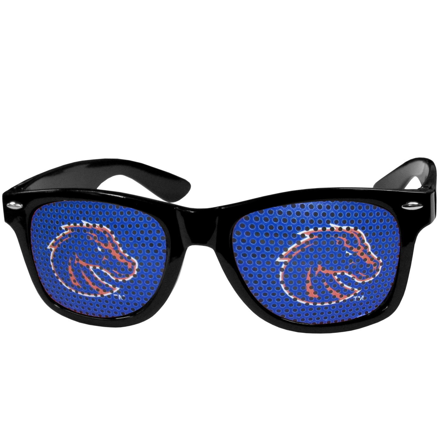 Boise St. Broncos Game Day Shades - Our officially licensed game day shades are the perfect accessory for the devoted Boise St. Broncos fan! The sunglasses have durable polycarbonate frames with flex hinges for comfort and damage resistance. The lenses feature brightly colored team clings that are perforated for visibility.