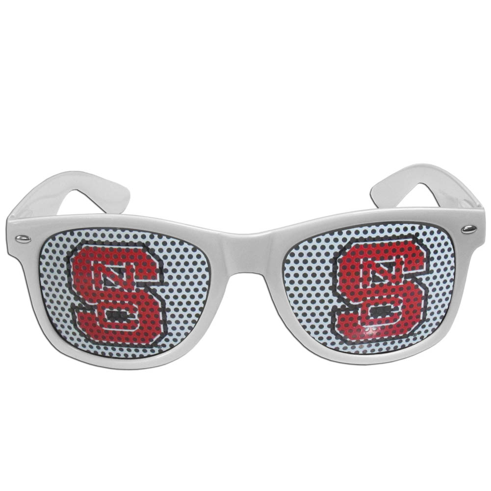 N. Carolina St. Wolfpack Game Day Shades - Our officially licensed game day shades are the perfect accessory for the devoted N. Carolina St. Wolfpack fan! The sunglasses have durable polycarbonate frames with flex hinges for comfort and damage resistance. The lenses feature brightly colored team clings that are perforated for visibility.