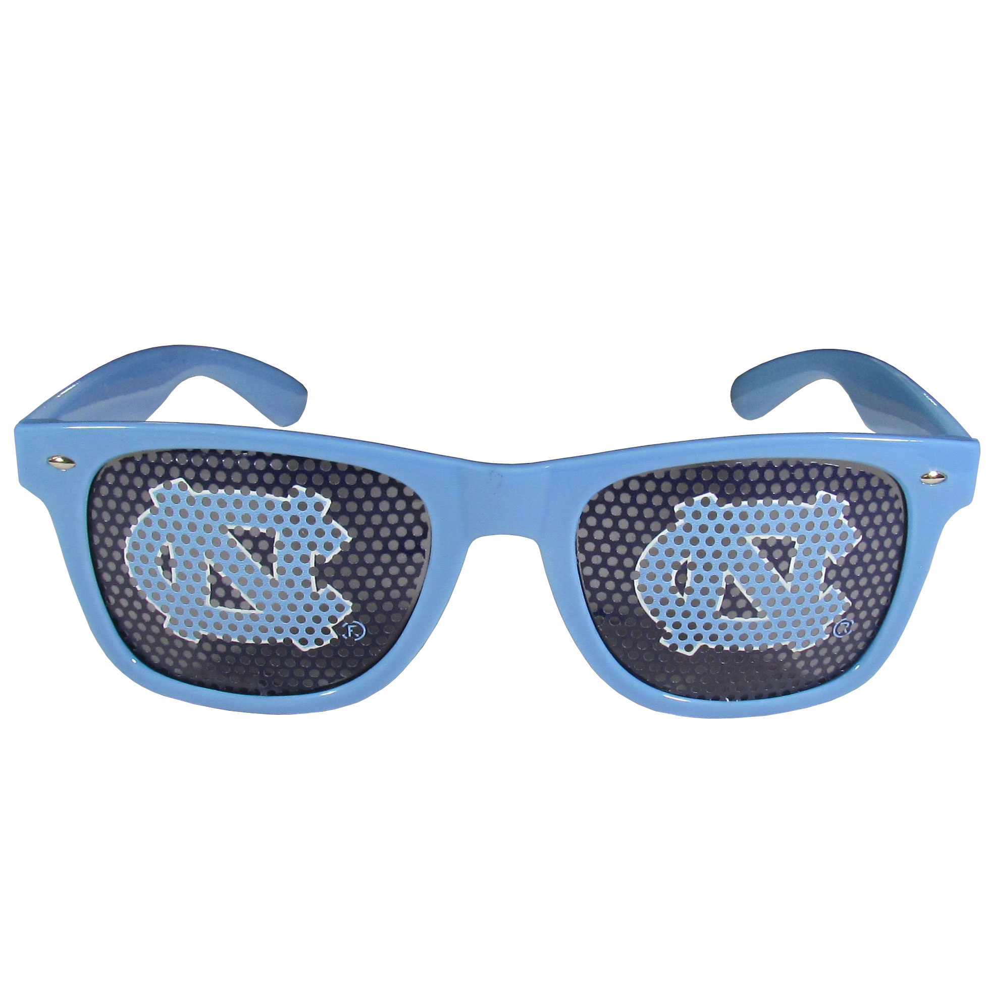 N. Carolina Tar Heels Game Day Shades - Our officially licensed game day shades are the perfect accessory for the devoted N. Carolina Tar Heels fan! The sunglasses have durable polycarbonate frames with flex hinges for comfort and damage resistance. The lenses feature brightly colored team clings that are perforated for visibility.