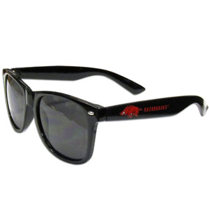 Arkansas Razorbacks Beachfarer Sunglasses - Our collegiate sunglass feature the Arkansas Razorbacks school logo and name silk screened on the arm of these great retro glasses.  Thank you for shopping with CrazedOutSports.com