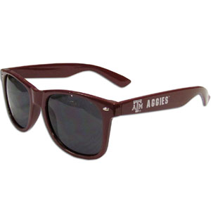 Texas A and M   Sunglasses - Our collegiate  sunglass feature the school logo and name silk screened on the arm of these great retro glasses.  Thank you for shopping with CrazedOutSports.com