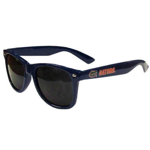 Florida Gators Sunglasses - Our collegiate Florida Gators sunglass feature the Florida Gators logo and name silk screened on the arm of these great retro glasses.  400 UVA protection. Thank you for shopping with CrazedOutSports.com