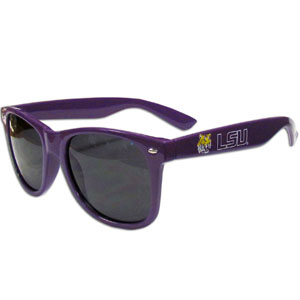 LSU Tigers Wayfarer Sunglasses - These collegiate LSU Tigers Wayfarer Sunglasses feature the school logo and name silk screened on the arm of these great retro glasses.  Thank you for shopping with CrazedOutSports.com